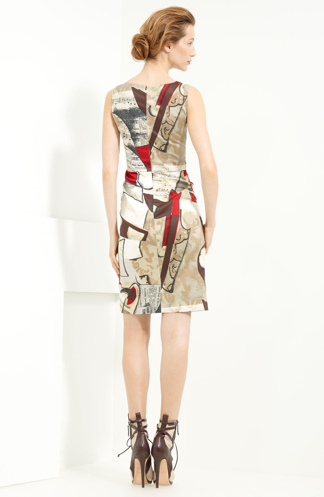 'Picasso Newsprint' Stretch Cotton Dress,                             Alternate thumbnail 2, color,                             099