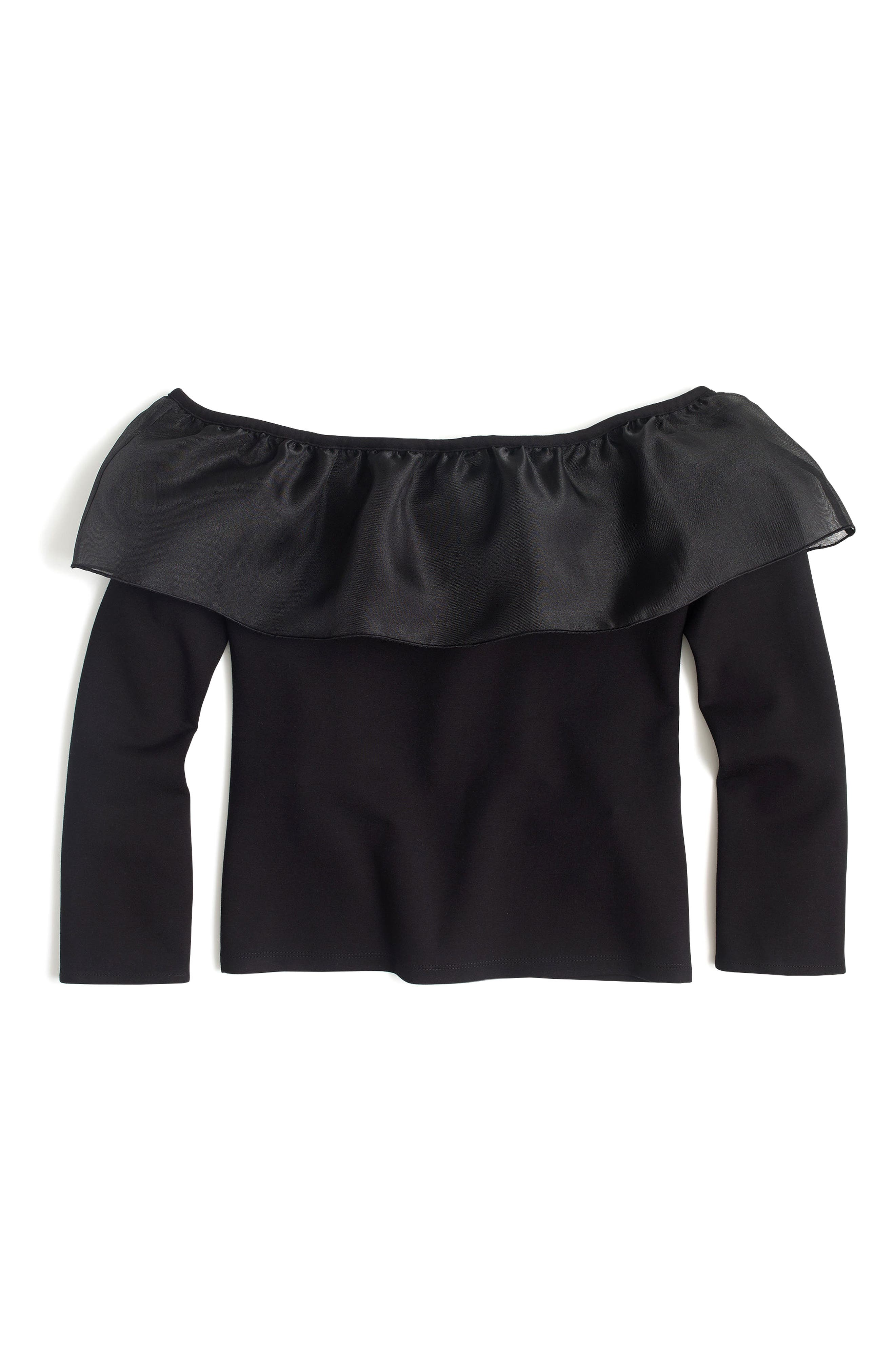 Organza Ruffle Top,                             Alternate thumbnail 2, color,                             001