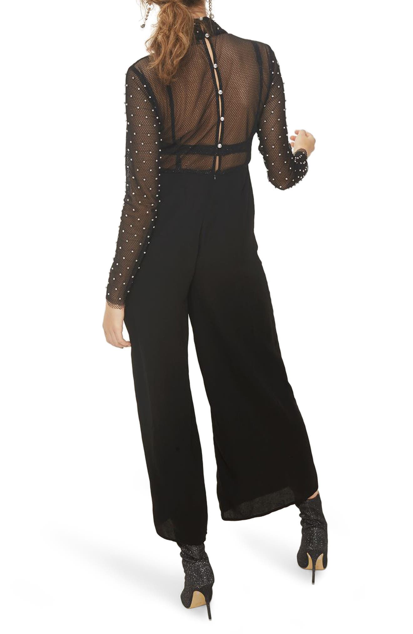 TOPSHOP,                             Diamante Fishnet Jumpsuit,                             Alternate thumbnail 2, color,                             001