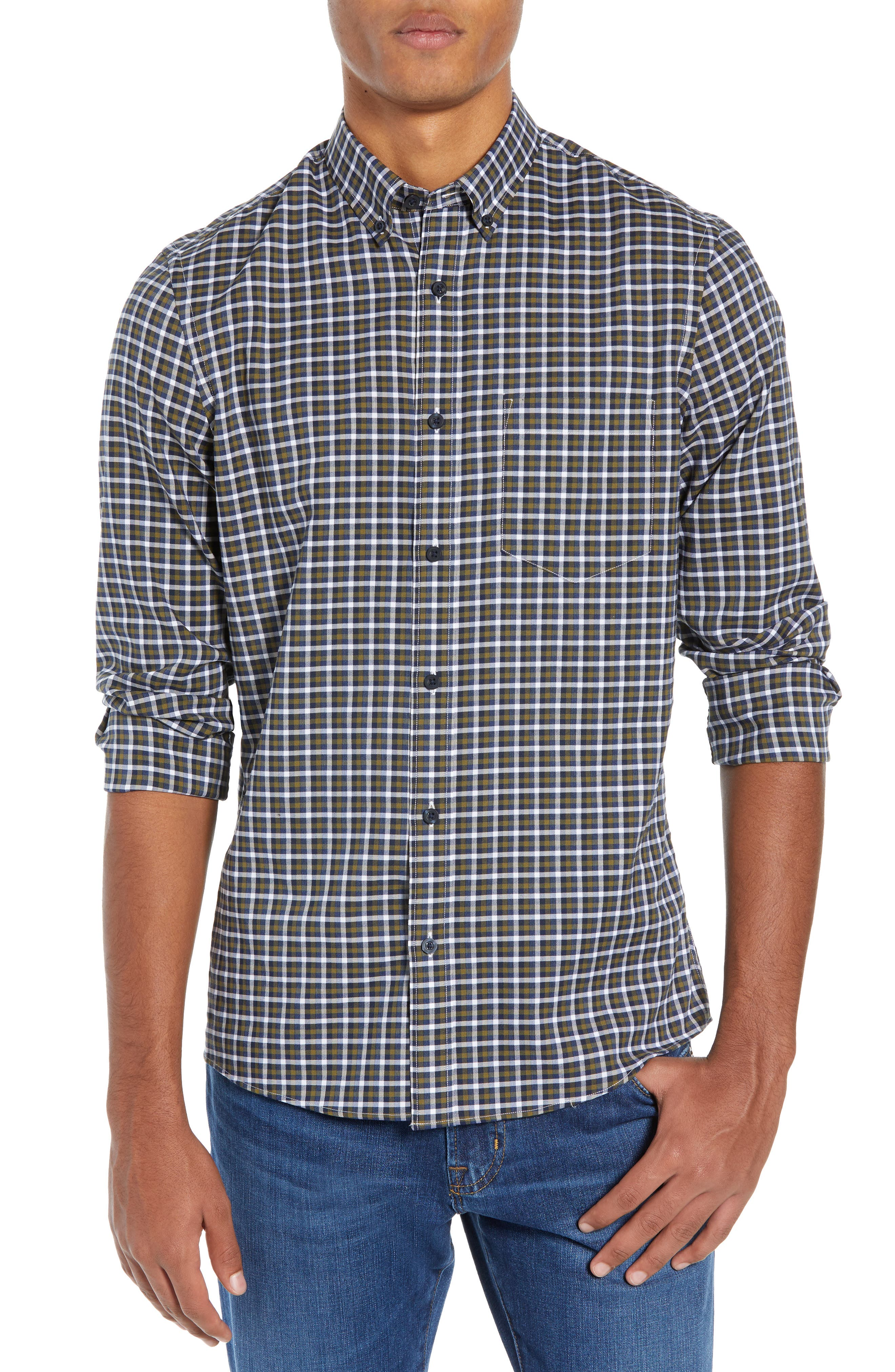 Tech-Smart Slim Fit Check Sport Shirt,                             Main thumbnail 1, color,                             NAVY NIGHT OLIVE CHECK