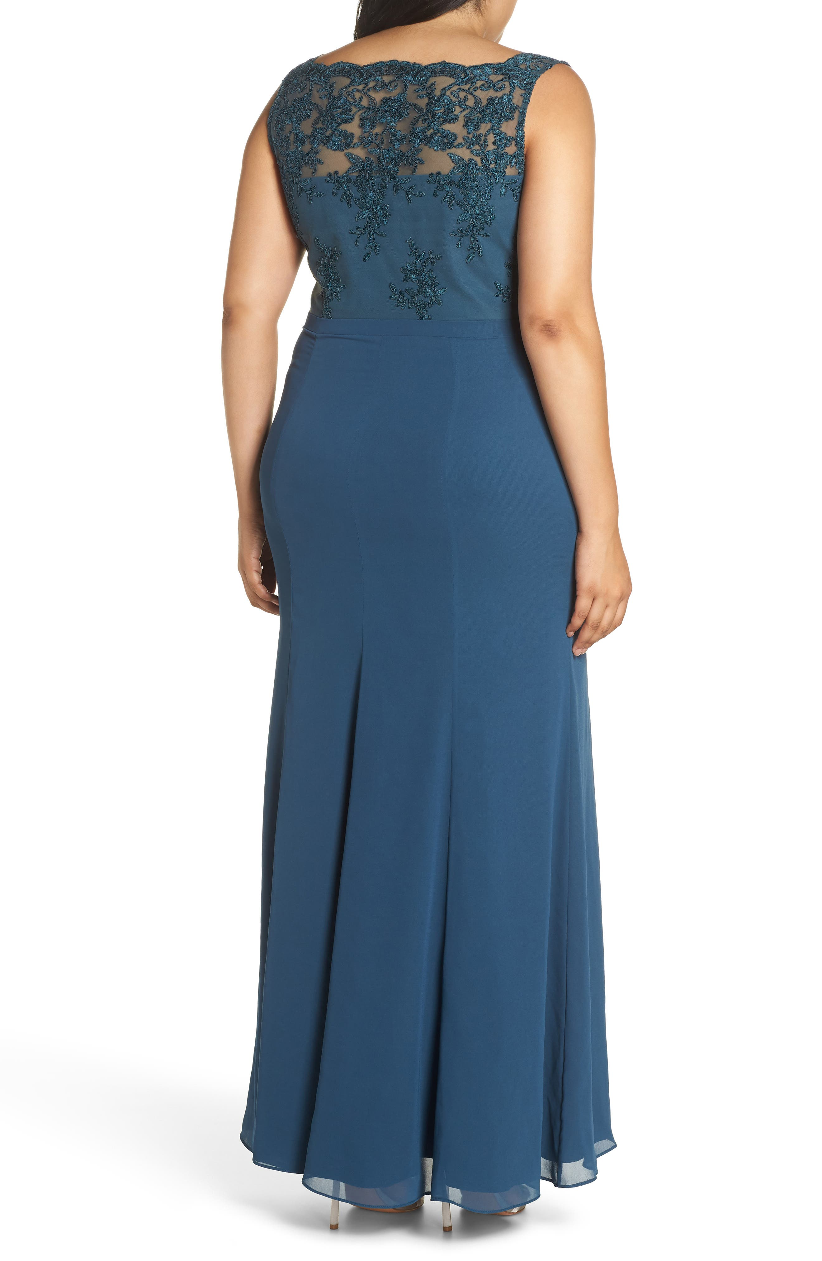 Embroidered Gown,                             Alternate thumbnail 2, color,                             GREEN
