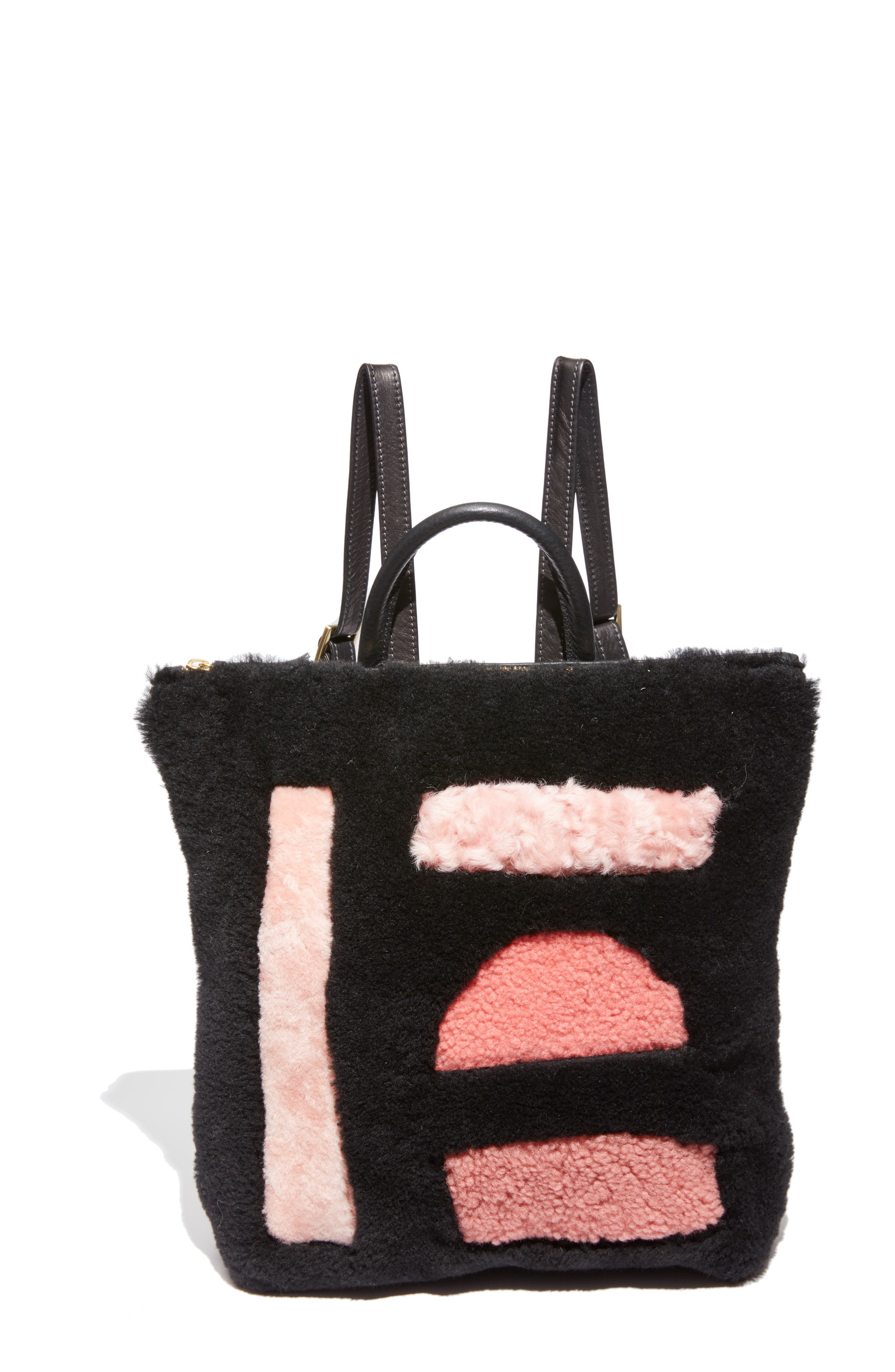 Shapes Patchwork Genuine Shearling Backpack,                             Main thumbnail 1, color,                             BLACK/ PINK