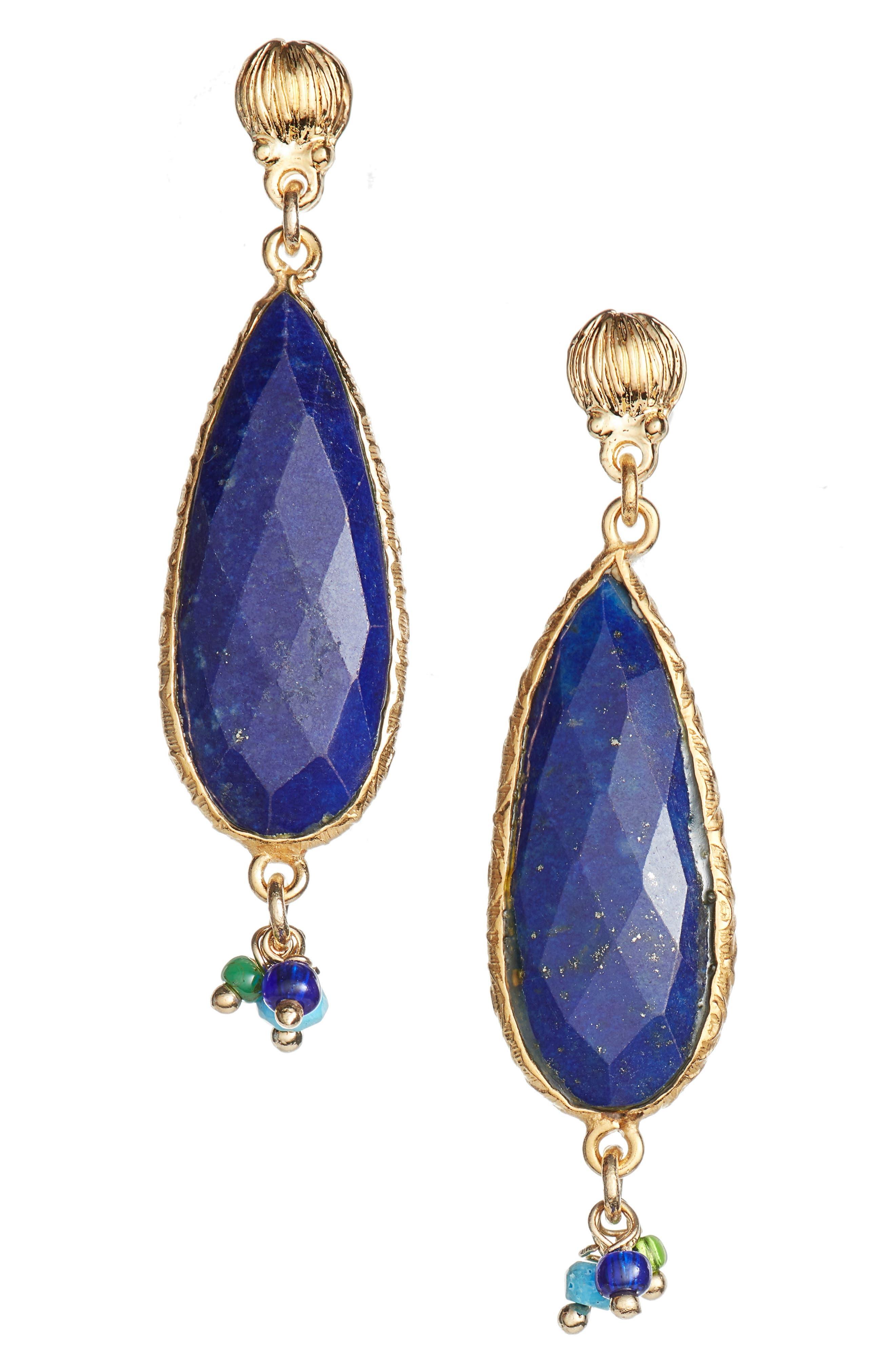 Serti Drop Earrings,                         Main,                         color, BLUE