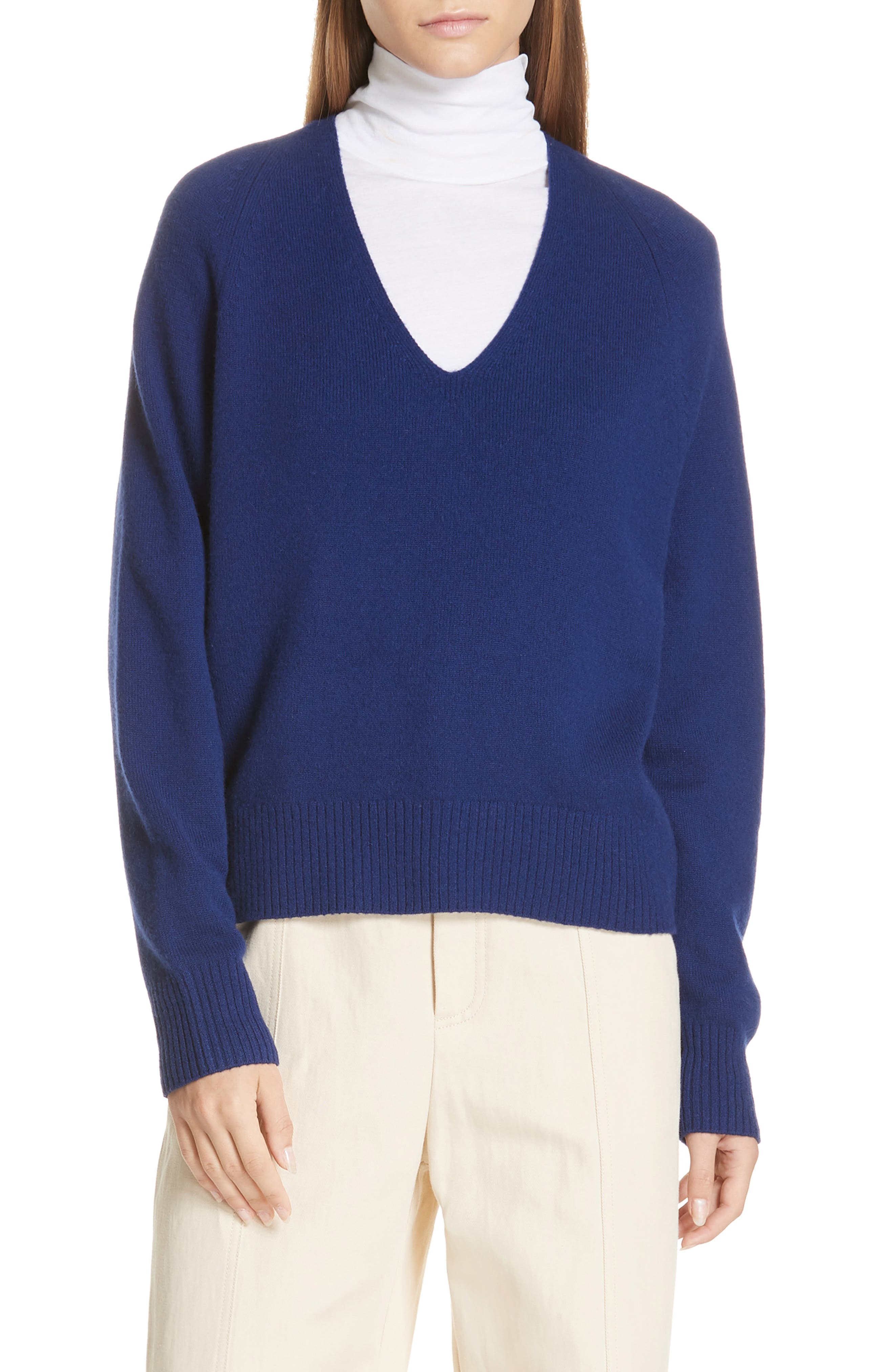 Deep V-Neck Cashmere Sweater,                             Main thumbnail 1, color,                             INK