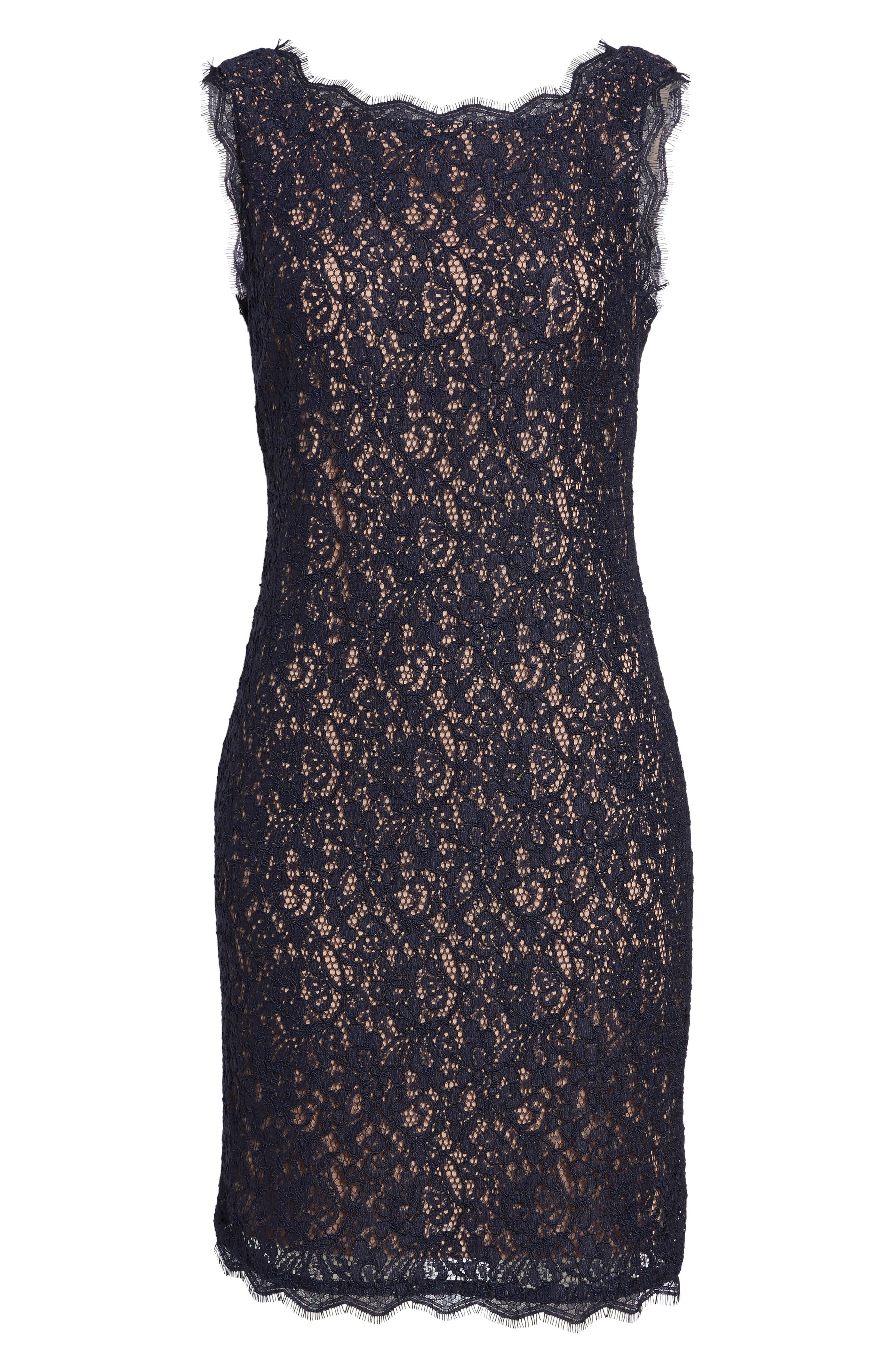 Boatneck Lace Sheath Dress,                             Alternate thumbnail 36, color,