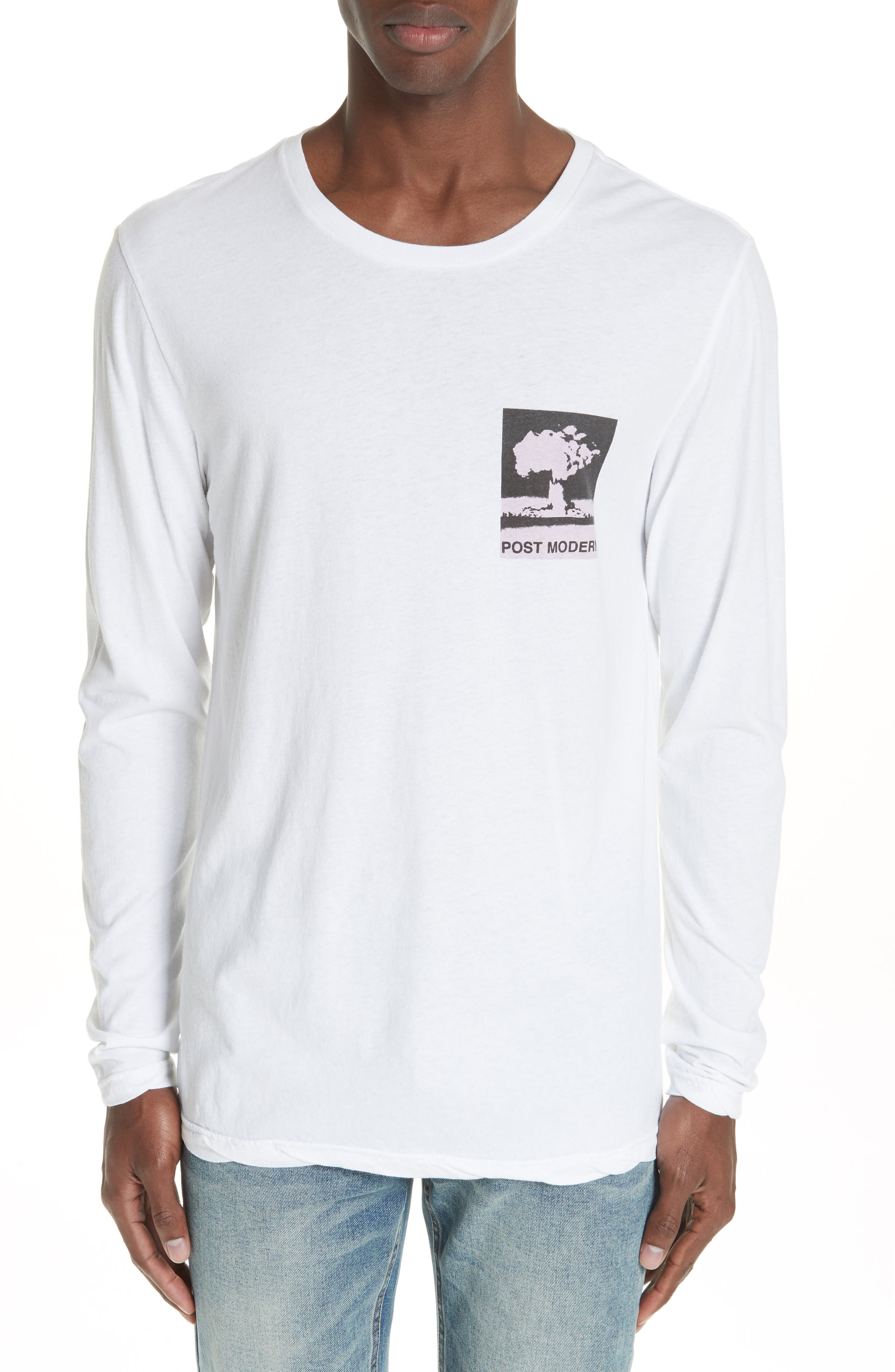 No Bomb Graphic Long Sleeve T-Shirt,                         Main,                         color, WHITE