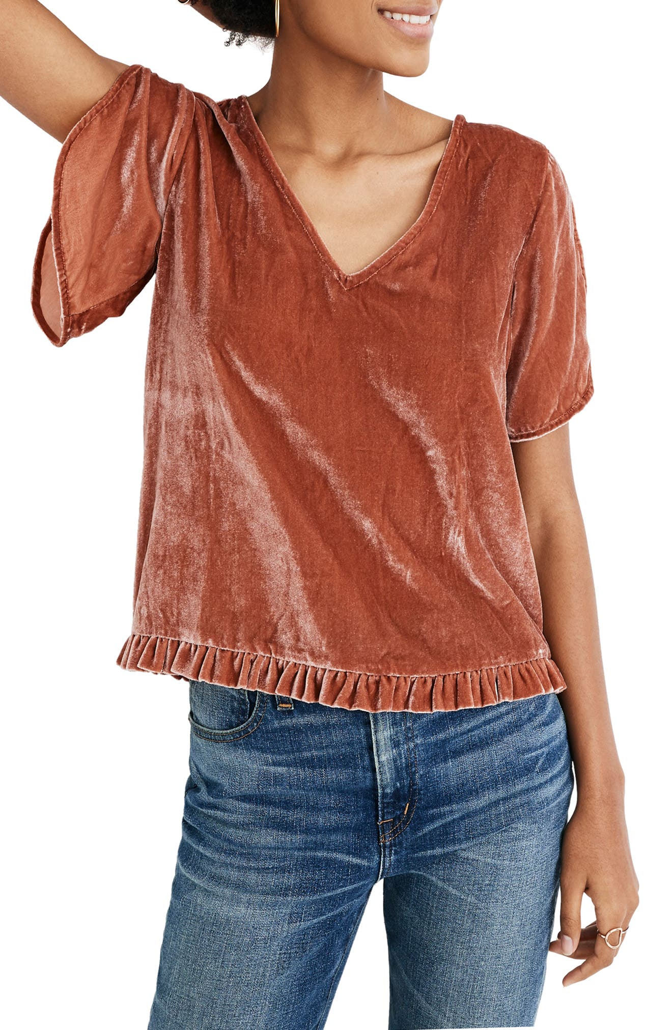 Ruffle Tulip Sleeve Velvet Top,                             Main thumbnail 1, color,                             AFTERGLOW RED