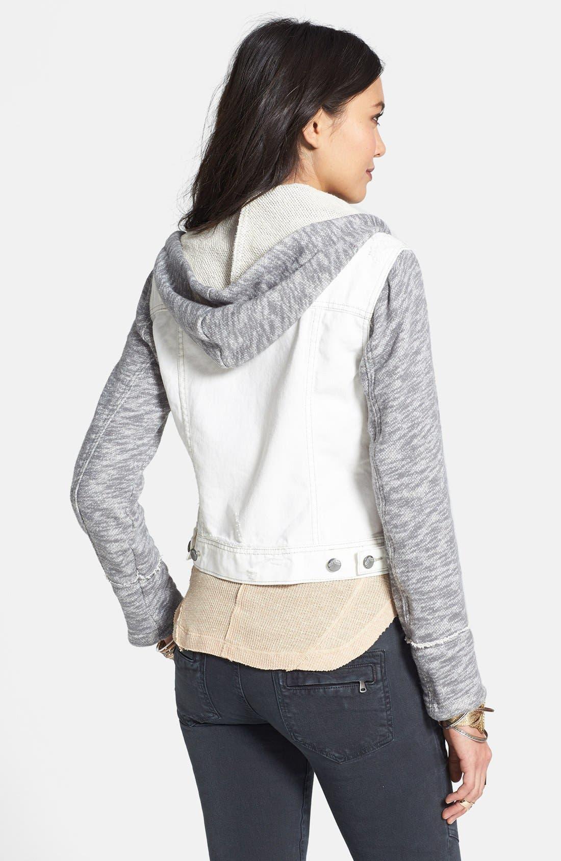 Knit Sleeve Distressed Denim Jacket,                             Alternate thumbnail 3, color,                             110