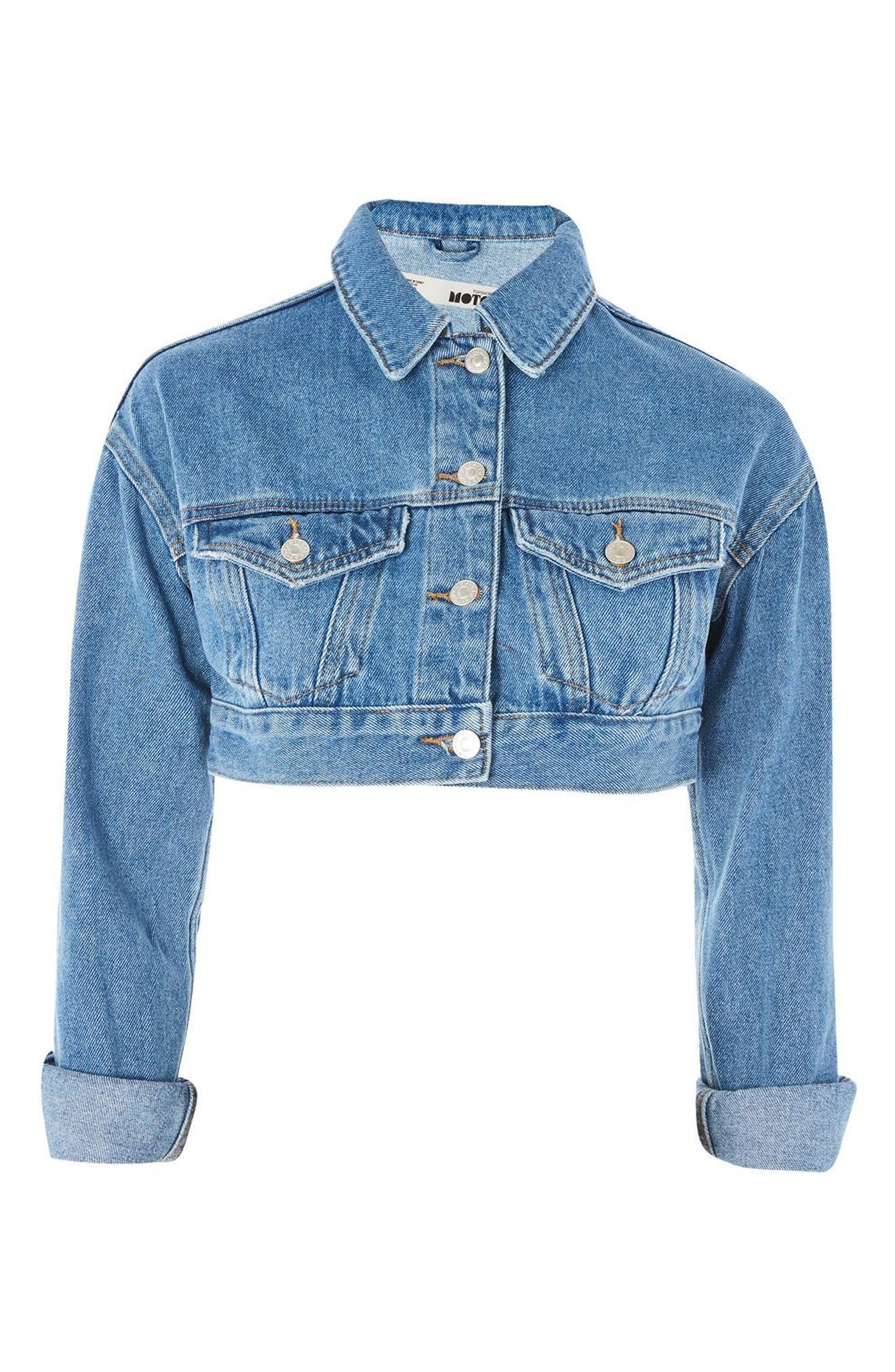 Shrunken Crop Denim Jacket,                             Alternate thumbnail 3, color,                             400