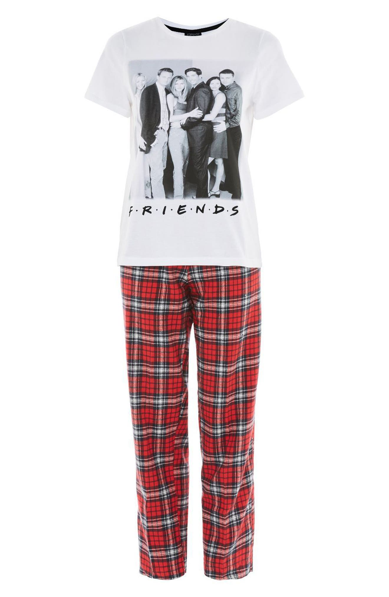 Friends Long Checkered Pajamas,                             Alternate thumbnail 3, color,