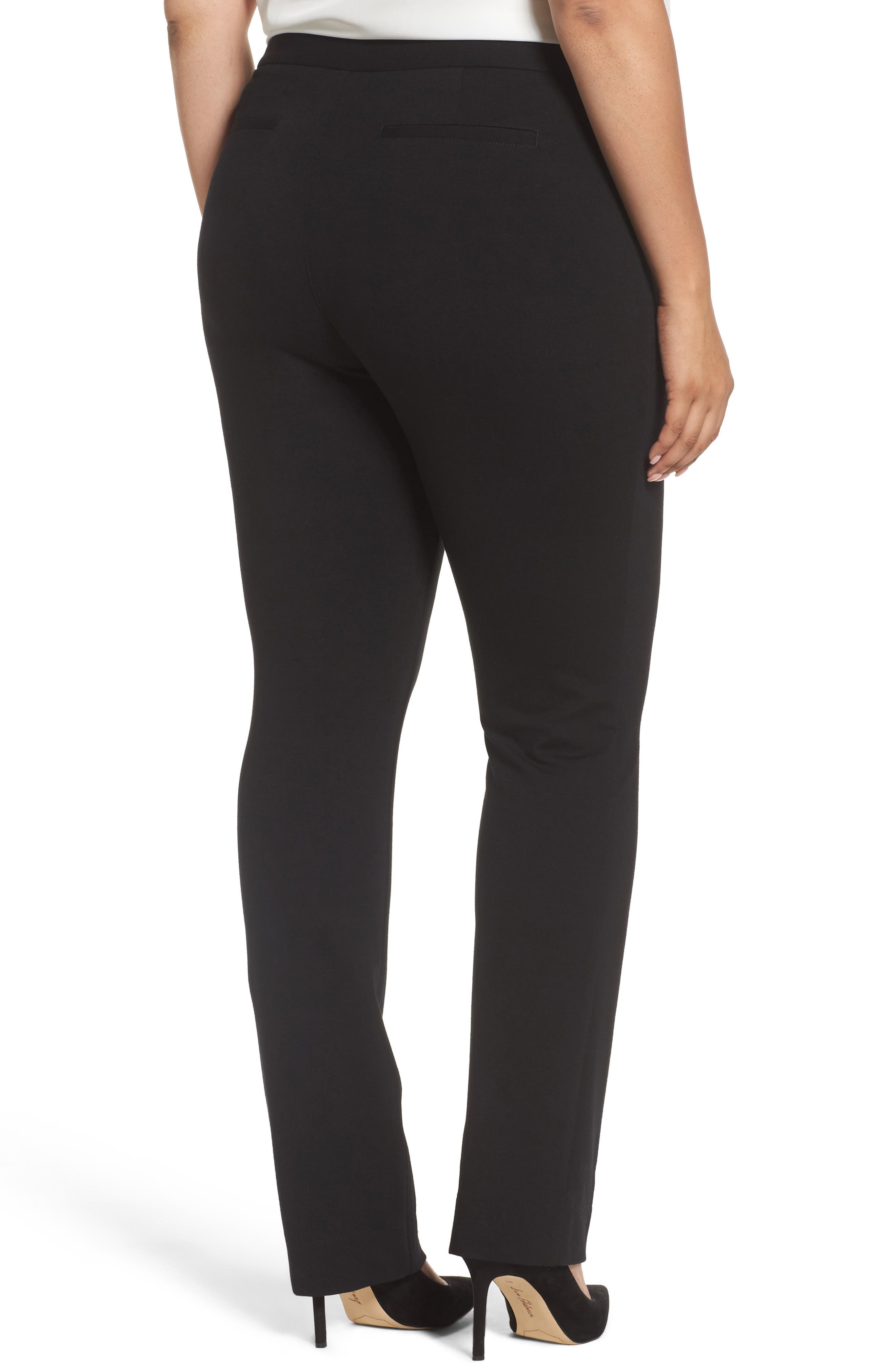 Stretch Knit Straight Leg Trousers,                             Alternate thumbnail 2, color,                             BLACK