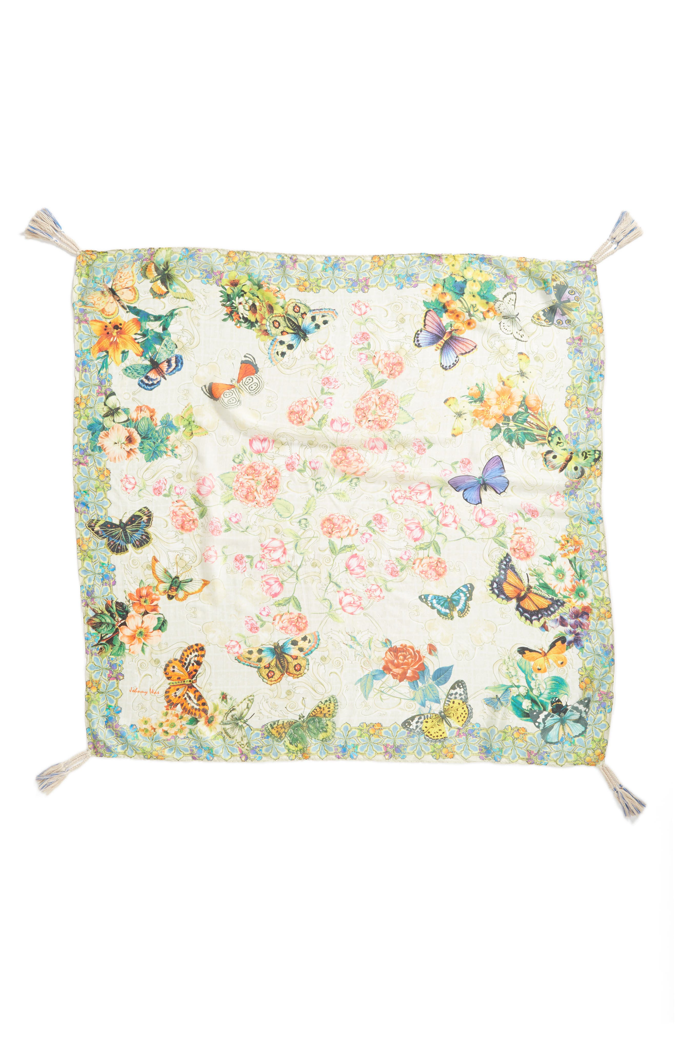 Holly Print Square Silk Scarf,                             Alternate thumbnail 2, color,                             300