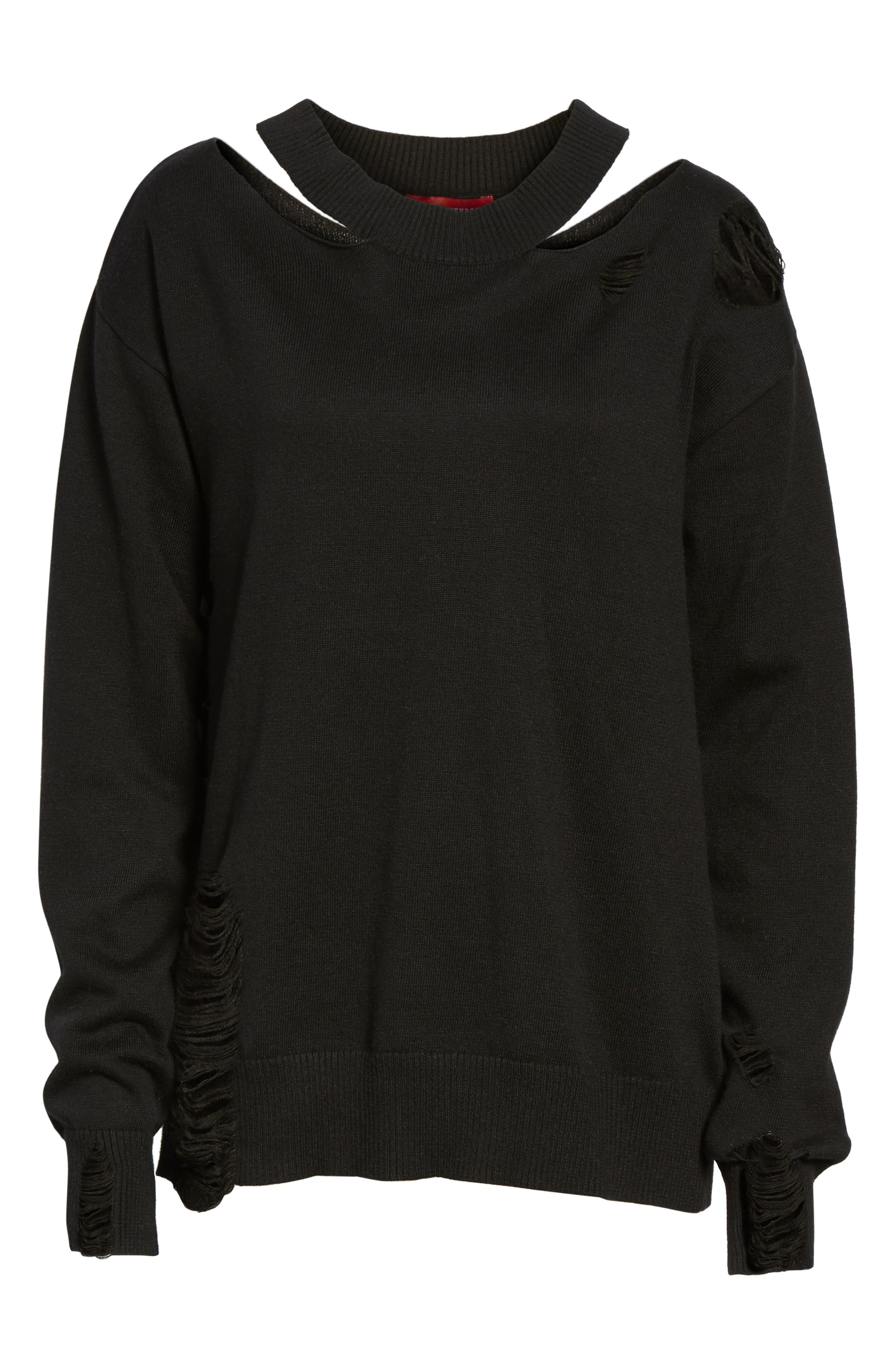 Julian Distressed Sweatshirt,                             Alternate thumbnail 6, color,                             001
