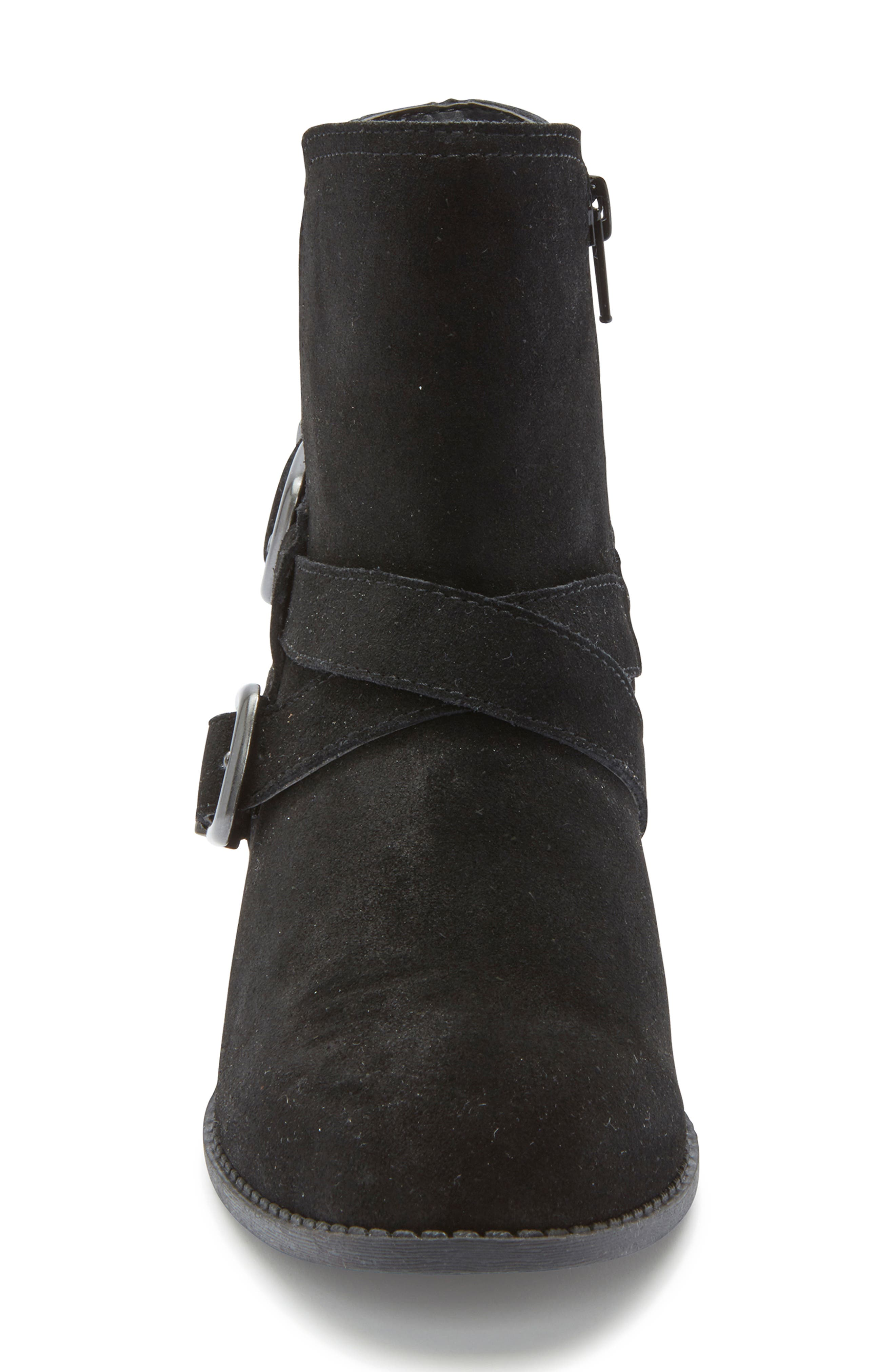 Zuri Buckle Boot,                             Alternate thumbnail 4, color,                             BLACK SUEDE