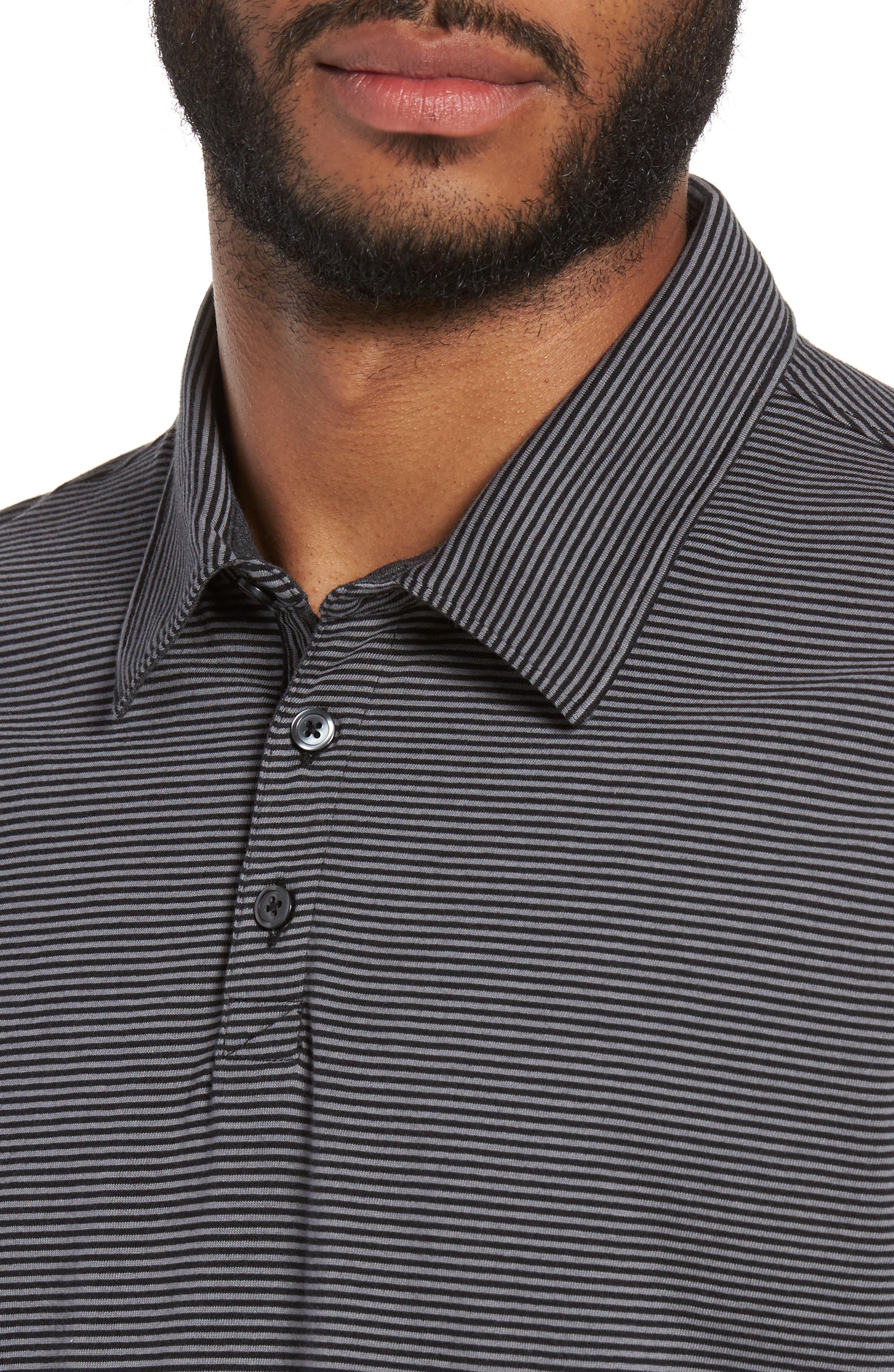 Gilmore Stripe Jersey Polo,                             Alternate thumbnail 4, color,                             BLACK