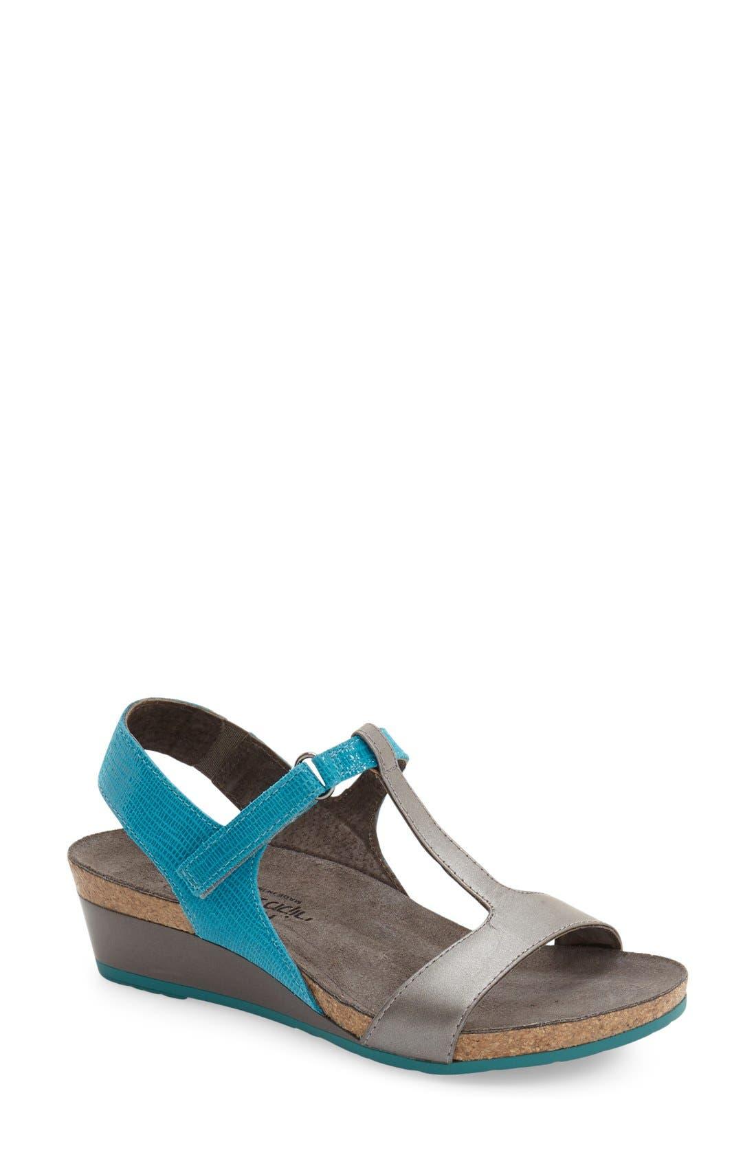 'Unicorn' T-Strap Sandal,                         Main,                         color, AQUAMARINE LEATHER
