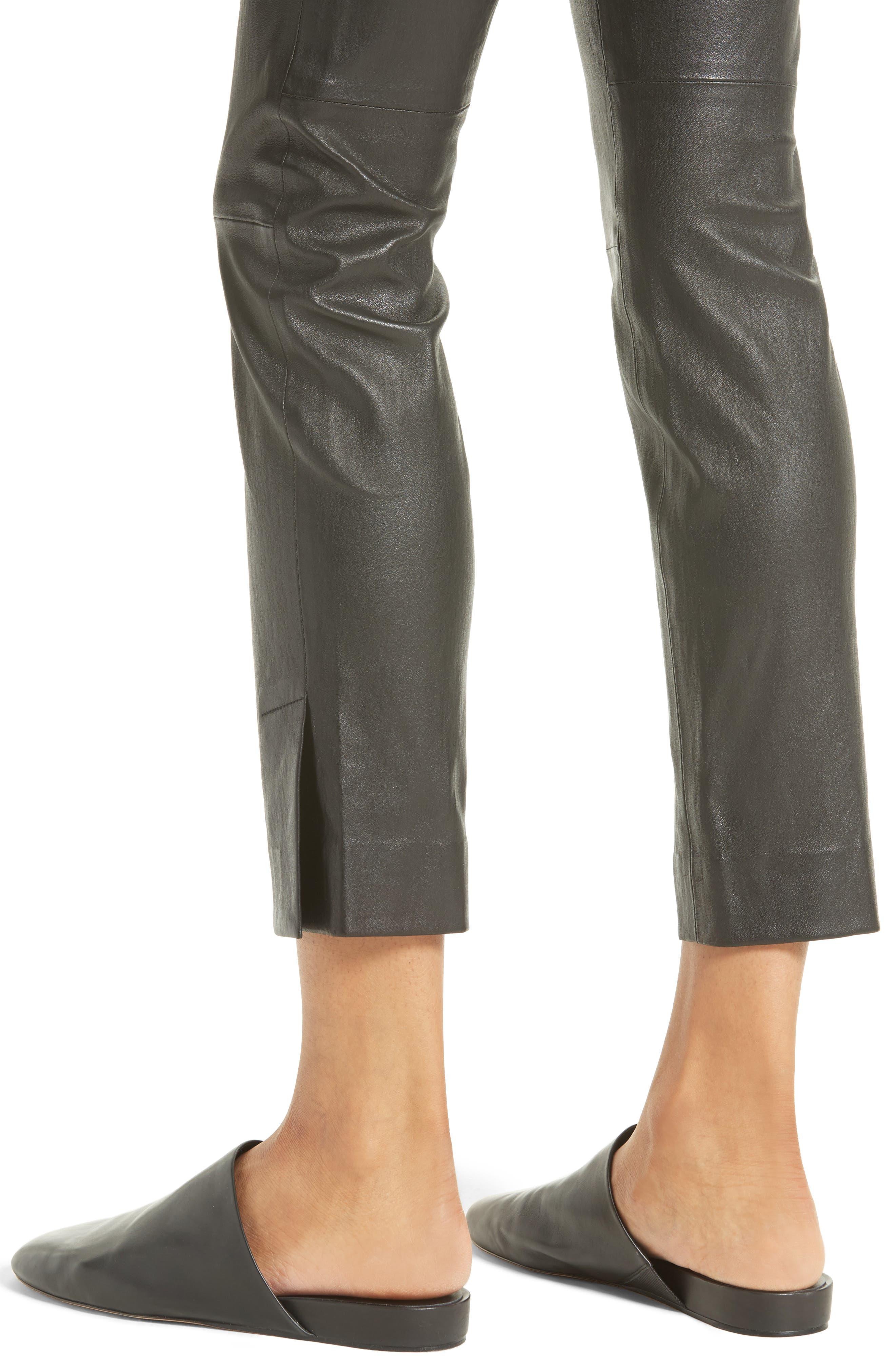 Slit Hem Crop Leather Pants,                             Alternate thumbnail 4, color,                             001
