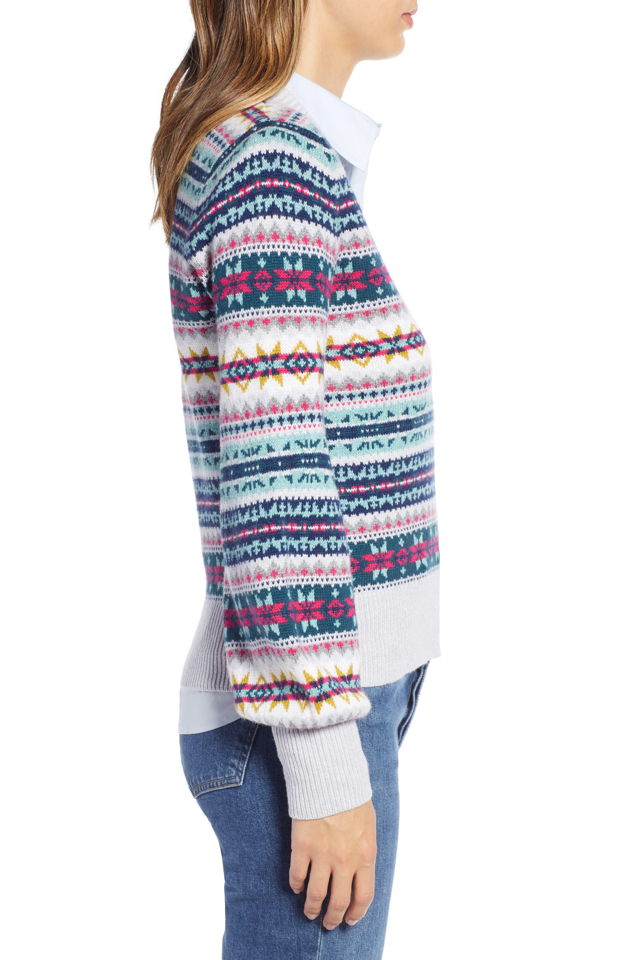 Fair Isle Cotton Wool Sweater,                             Alternate thumbnail 3, color,                             030