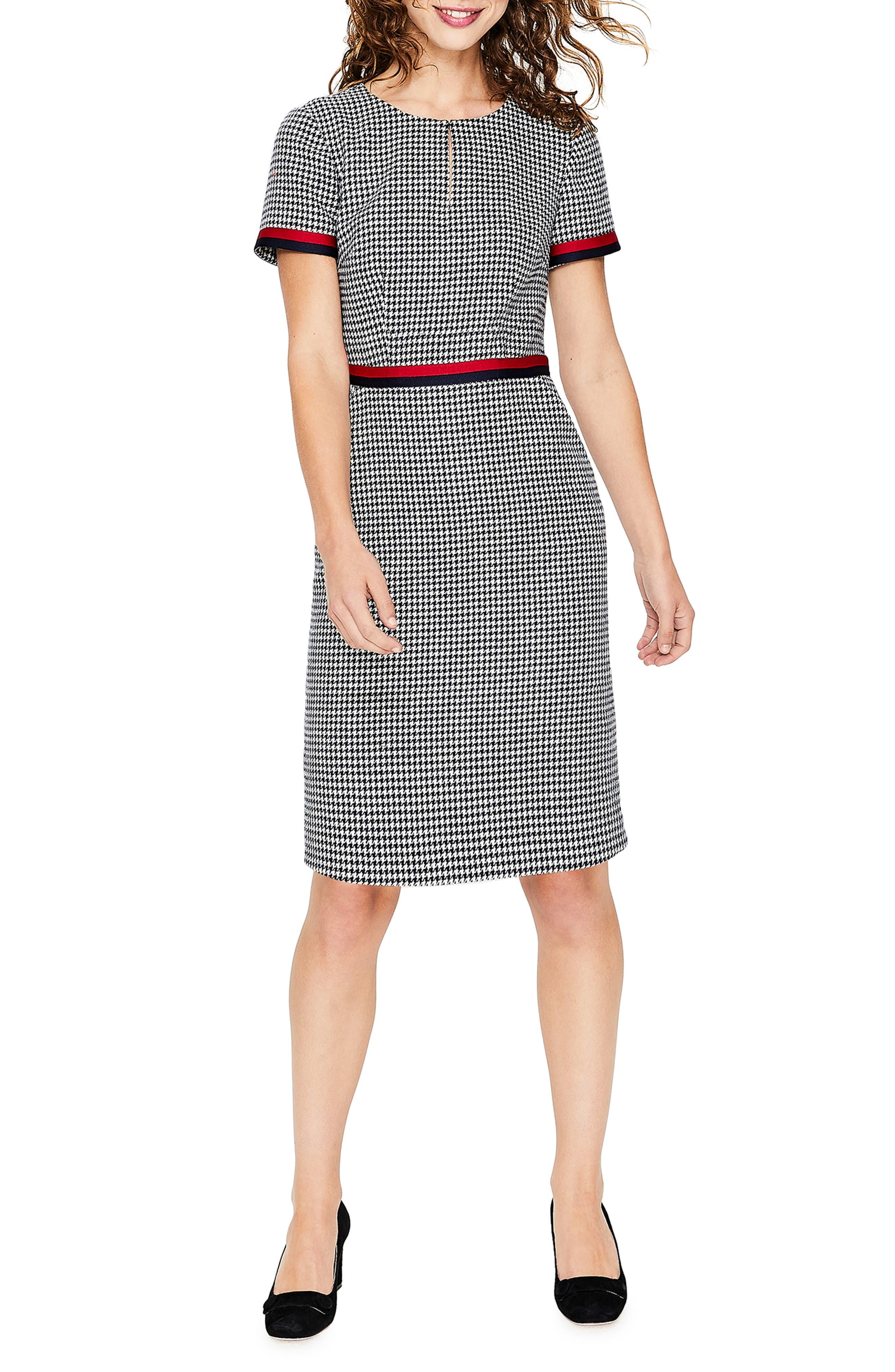 Ribbon Trim Wool Tweed Dress,                             Main thumbnail 1, color,                             400