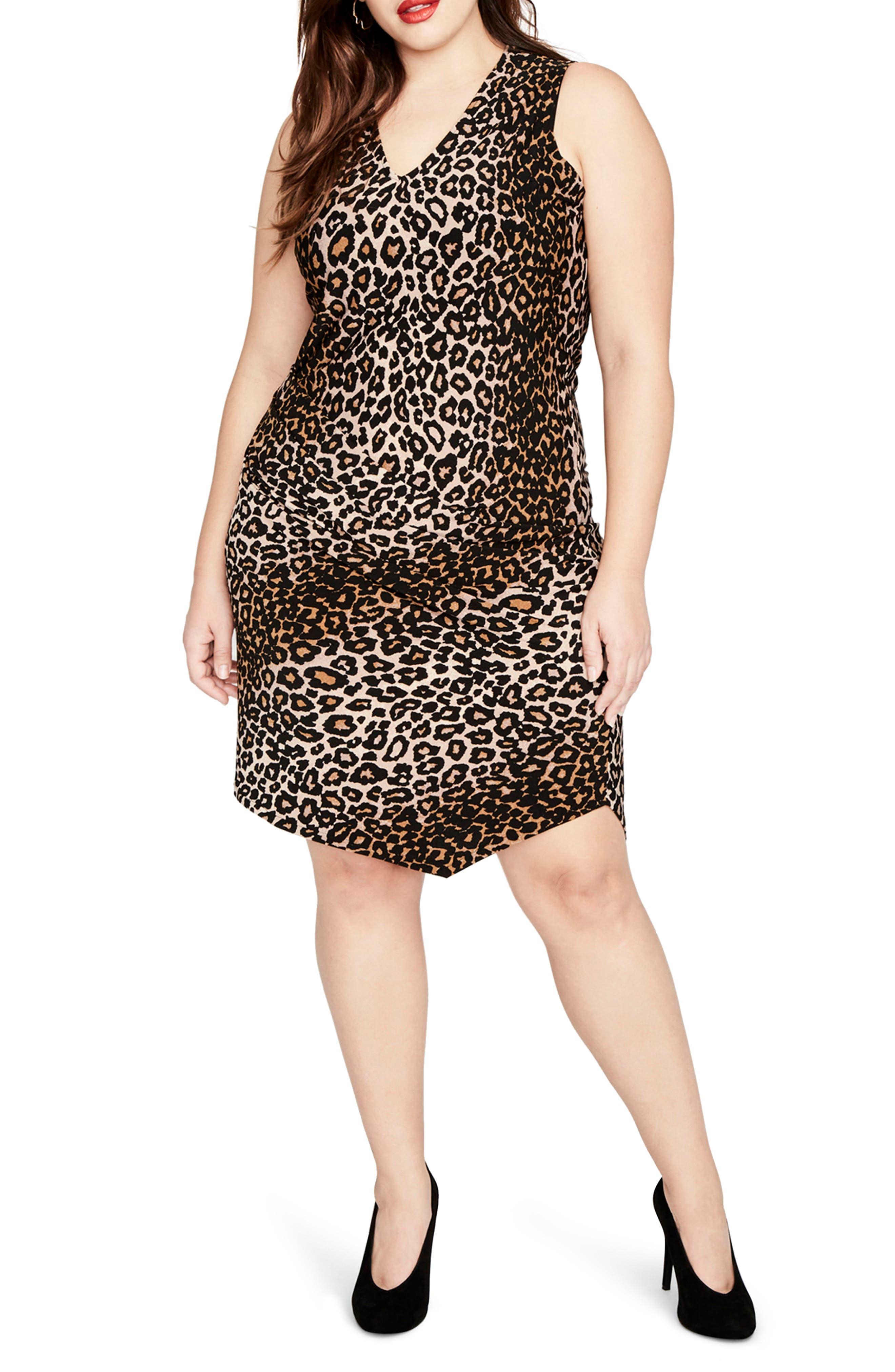 RACHEL BY Rachel Roy Leopard Print Asymmetrical Drape Dress,                         Main,                         color, 270