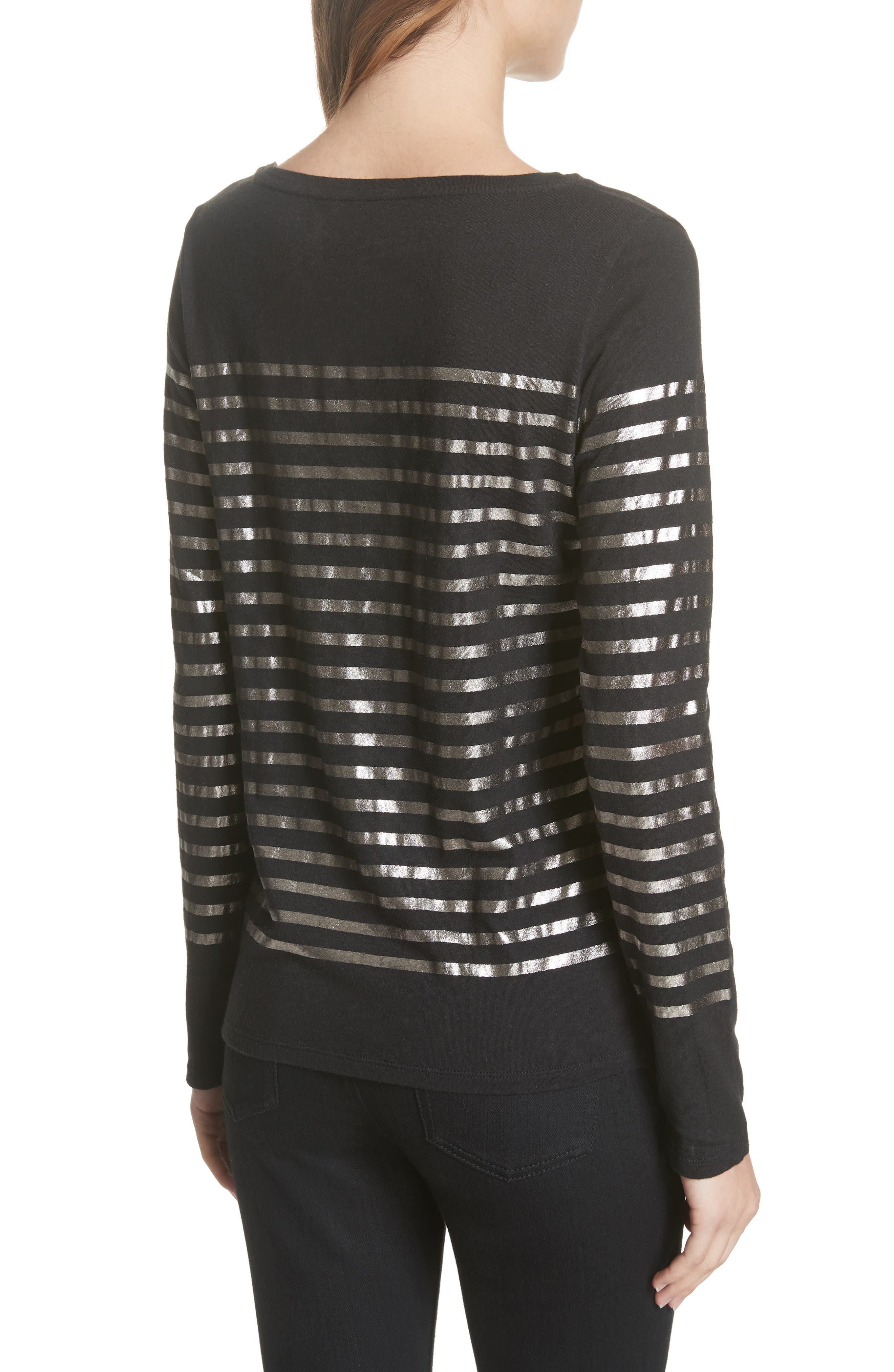 Boxy Stripe Top,                             Alternate thumbnail 2, color,                             NOIR/ GUN METAL