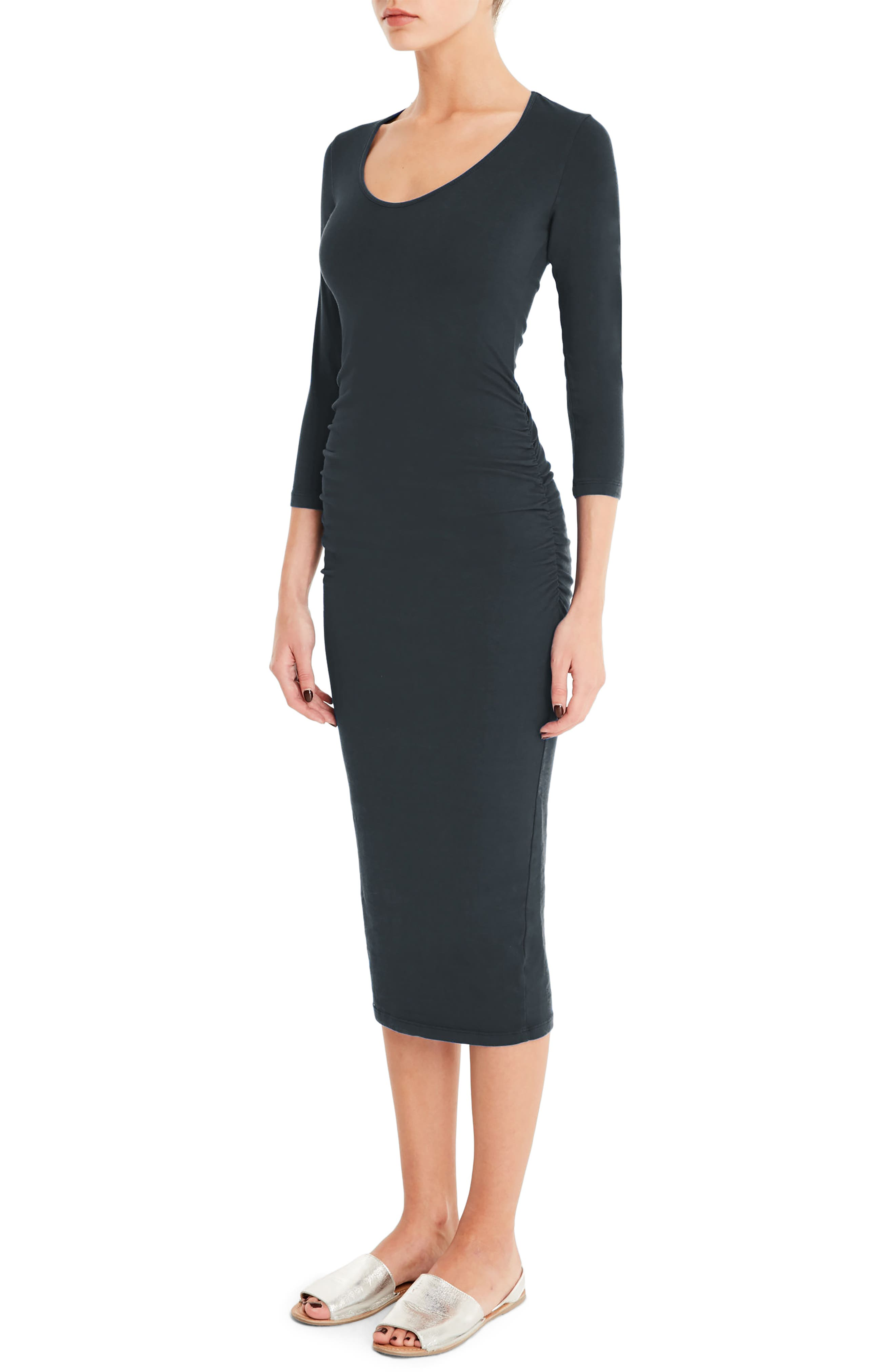 Ruched Midi Dress,                             Alternate thumbnail 3, color,                             OXIDE