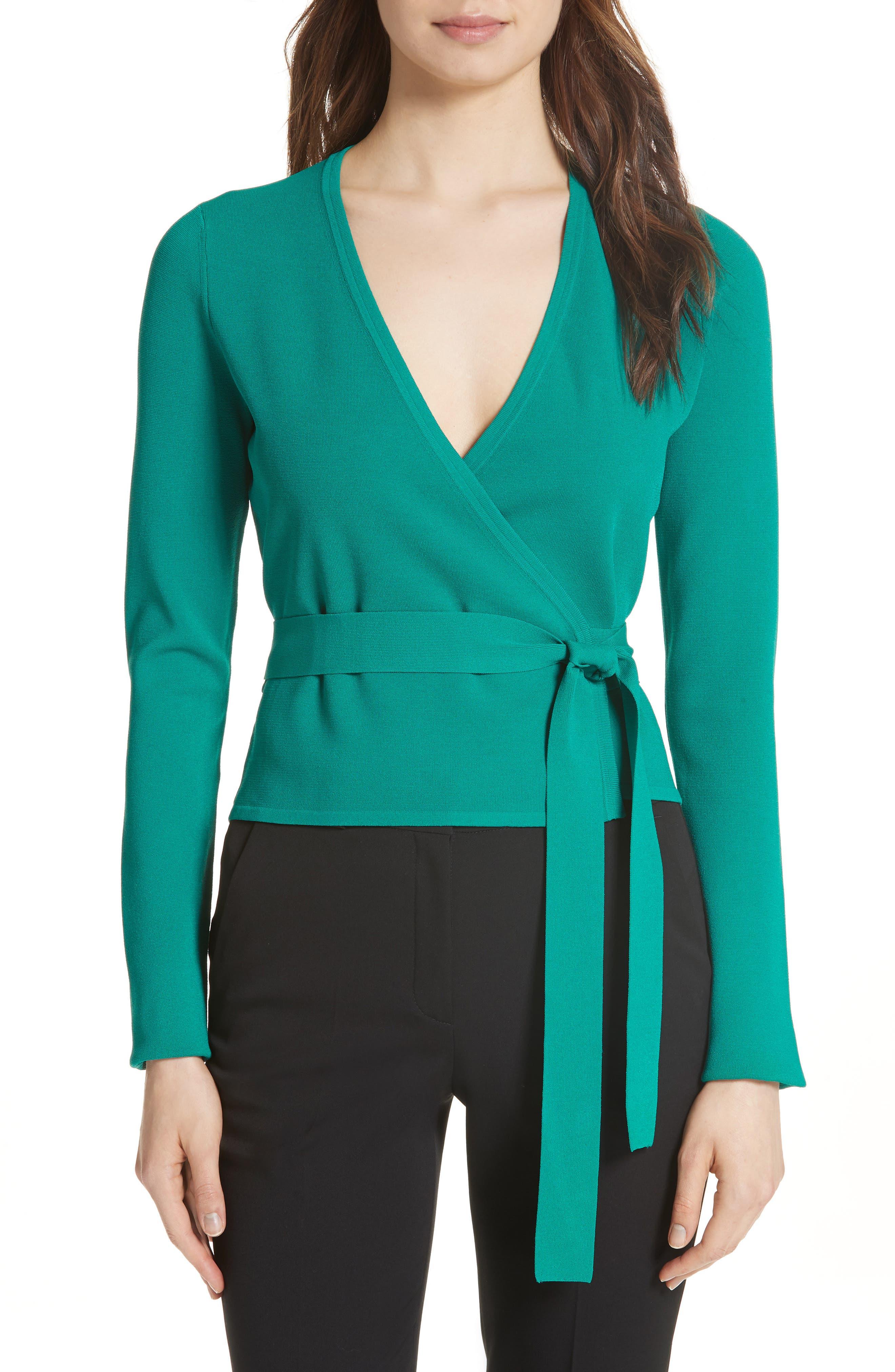 Diane von Furstenberg Knit Wrap Top,                         Main,                         color, 340