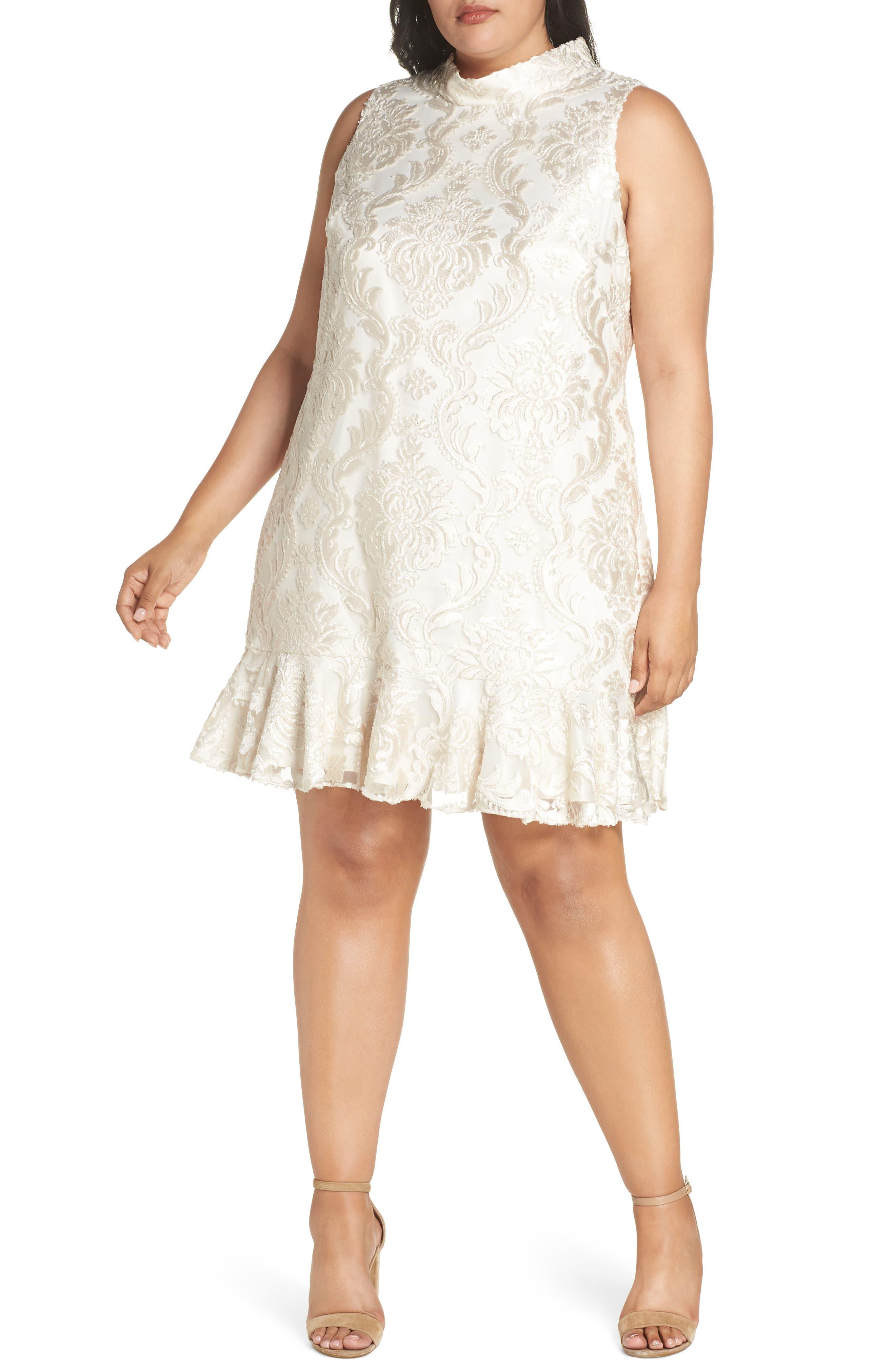 Plus Size Eliza J Sleeveless Jacquard Shift Dress, Ivory