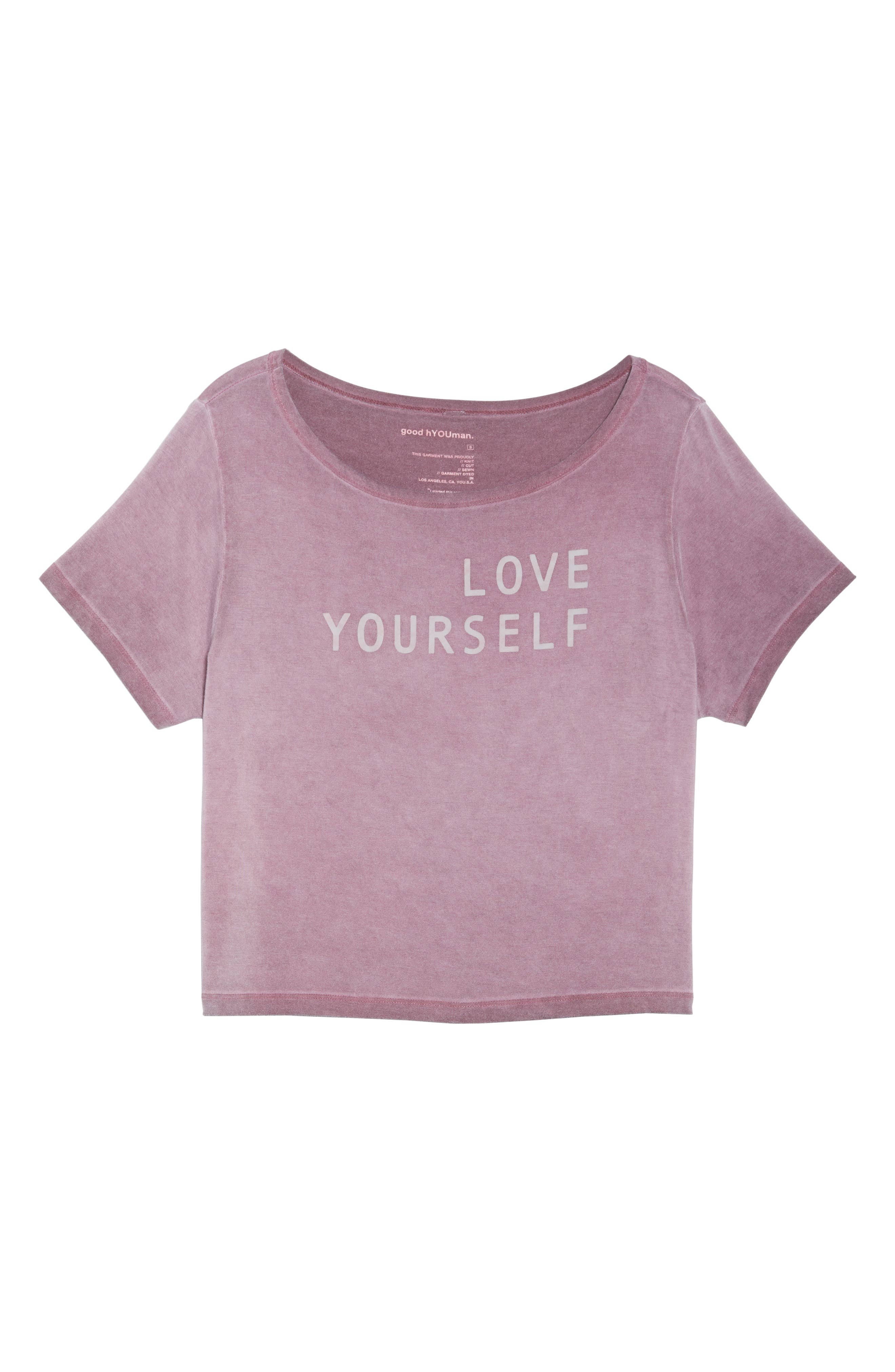 Payton Love Yourself Crop Tee,                             Alternate thumbnail 7, color,                             ROSEWOOD OIL WASH