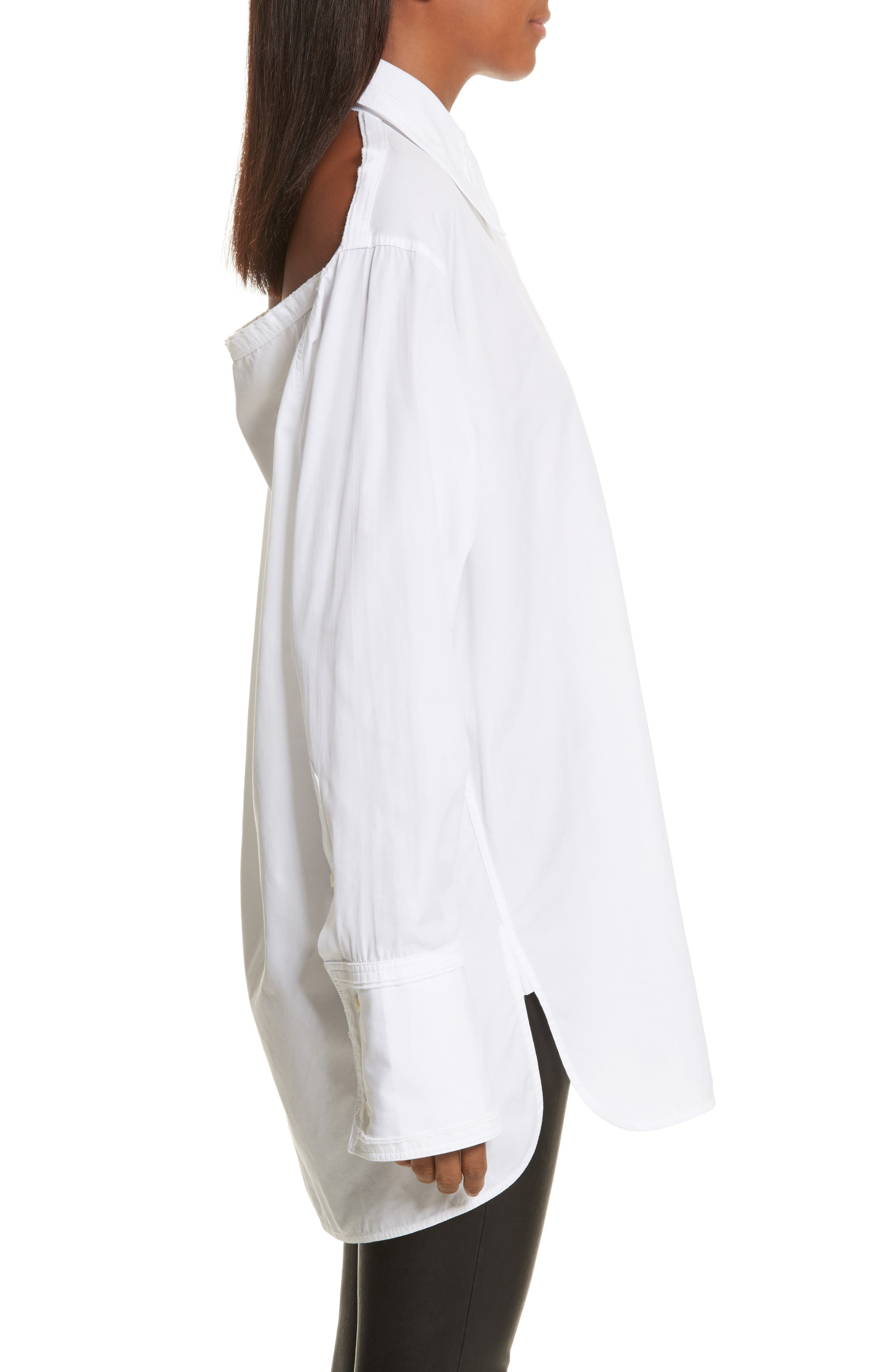 Cutout Cotton Poplin Shirt,                             Alternate thumbnail 3, color,                             139