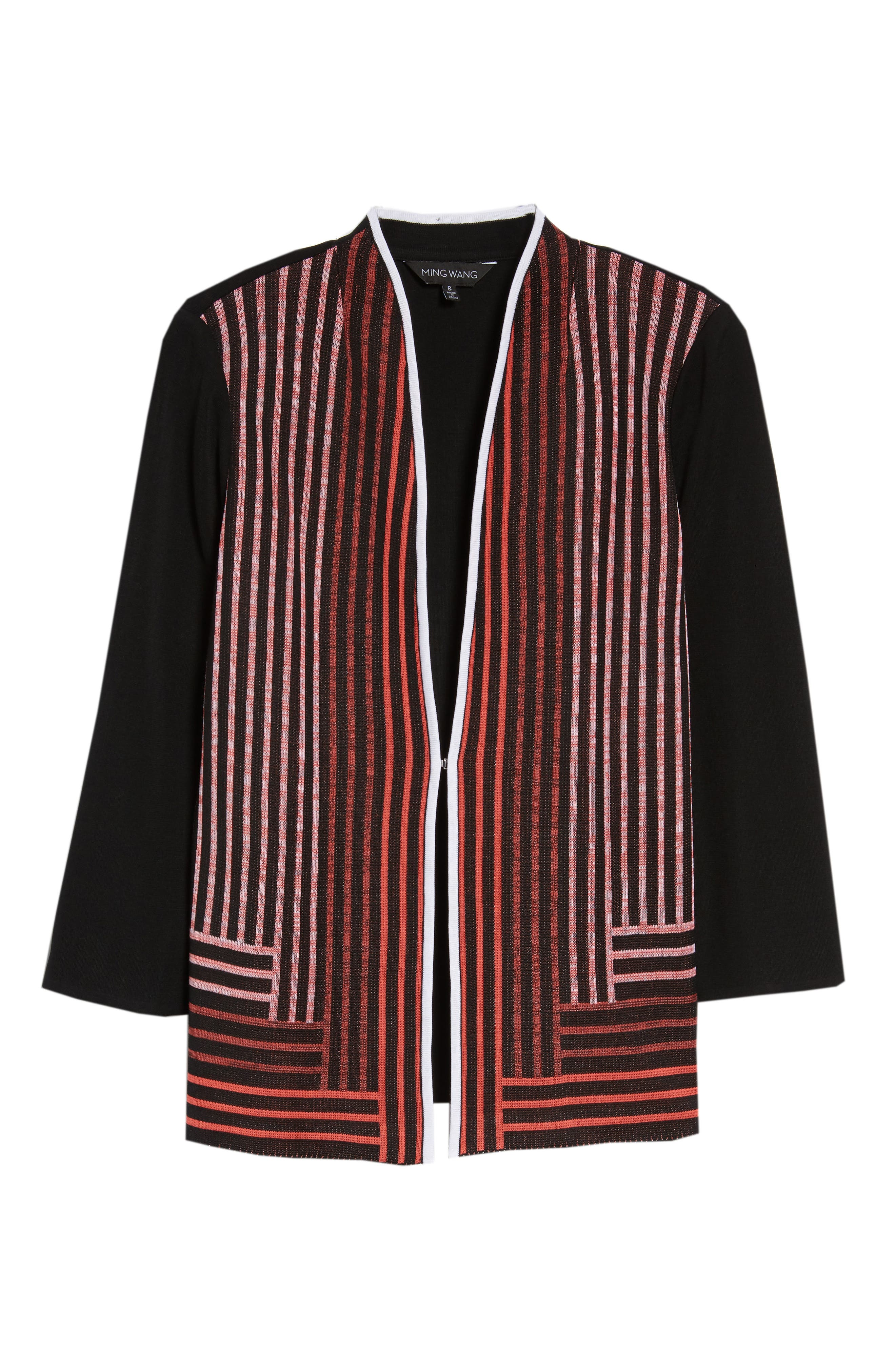 Stripe Knit Jacket,                             Alternate thumbnail 6, color,                             BLACK/ WHITE/ ZINNIA