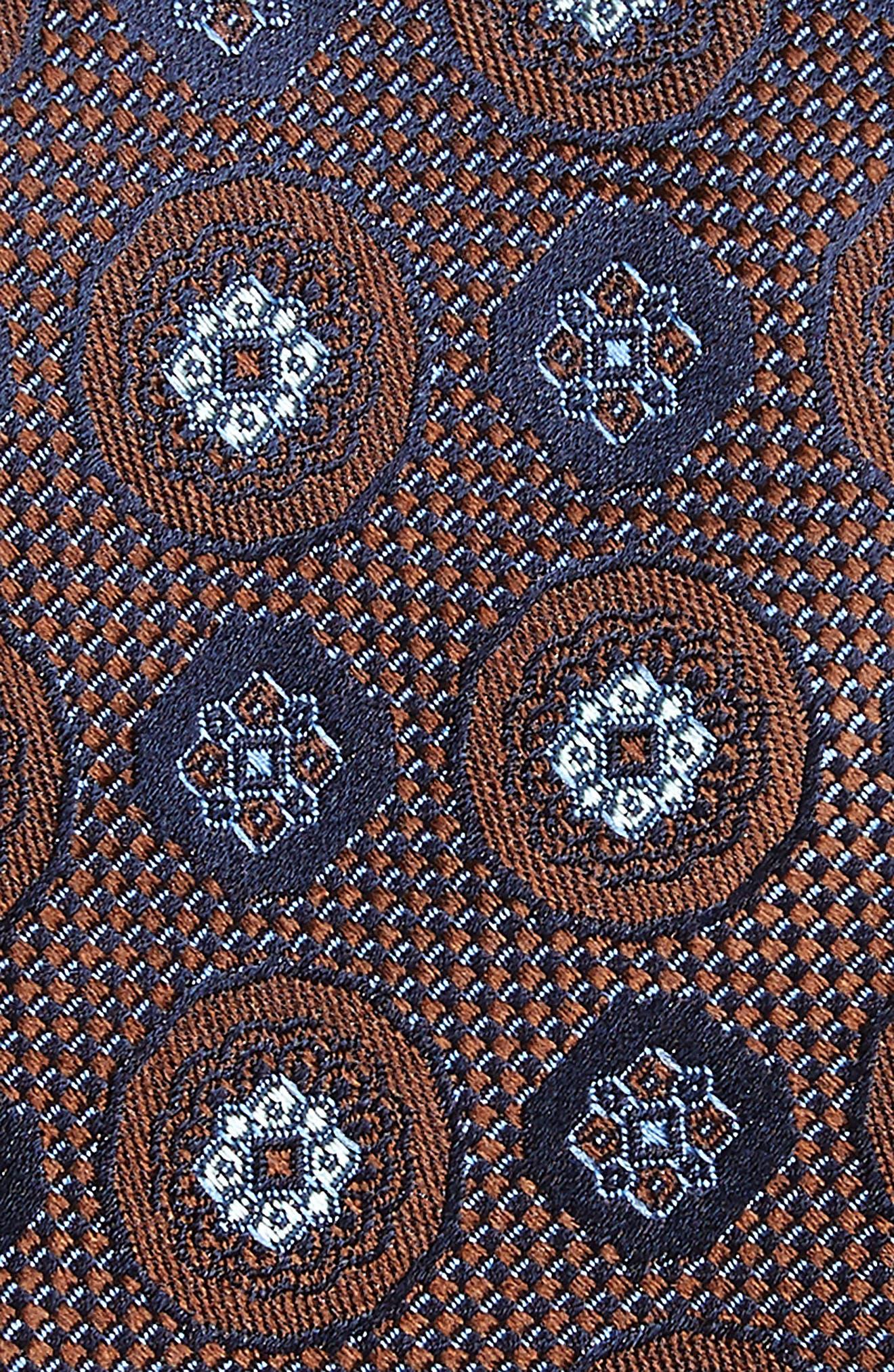Edlin Medallion Silk Tie,                             Alternate thumbnail 2, color,                             BROWN