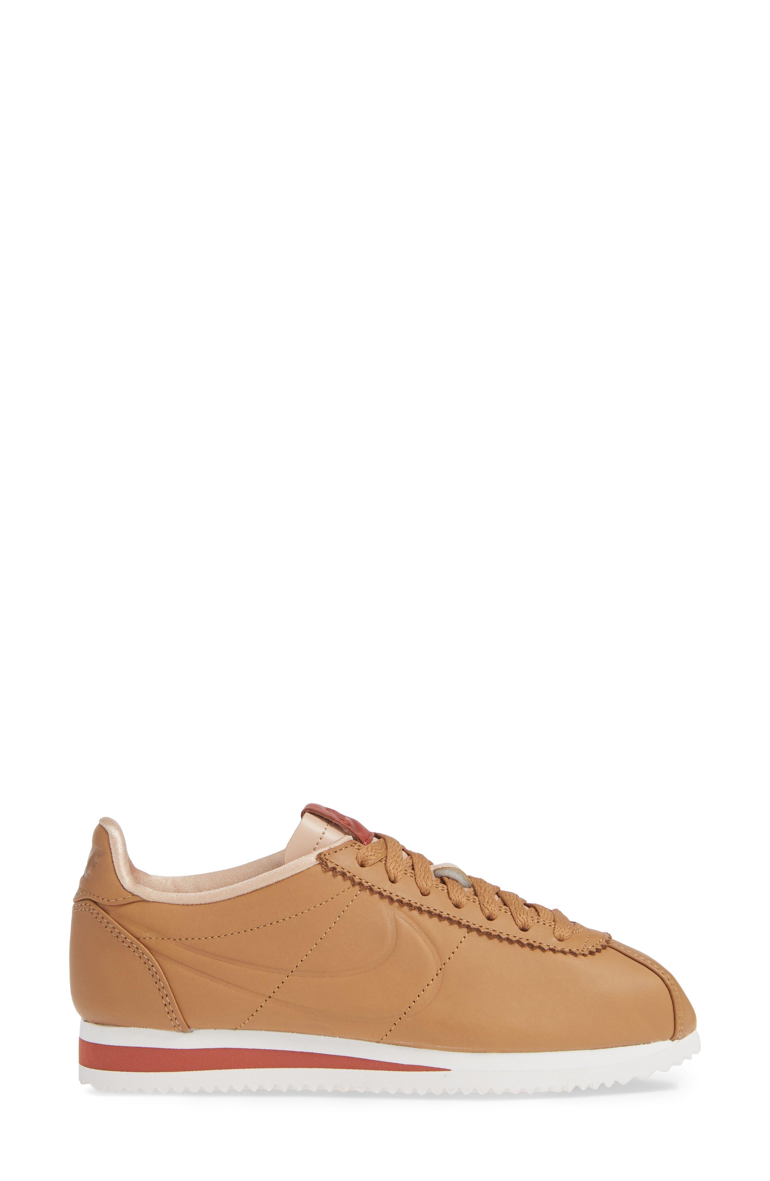 LA Cortez x Maria Sharapova Premium Sneaker,                             Alternate thumbnail 3, color,                             CAMEL/CAMEL