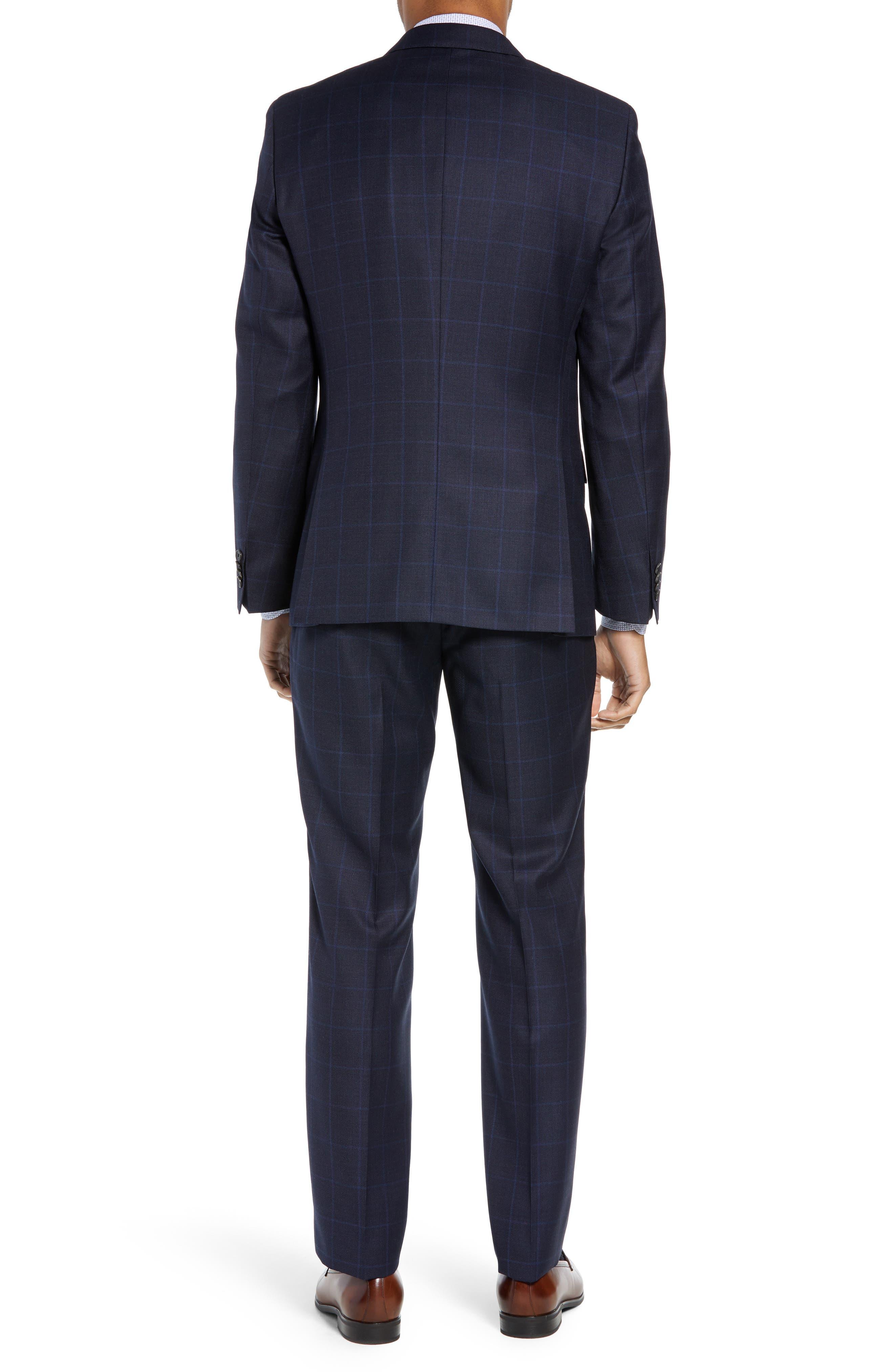 Huge/Genius Trim Fit Windowpane Wool Three-Piece Suit,                             Alternate thumbnail 2, color,                             480