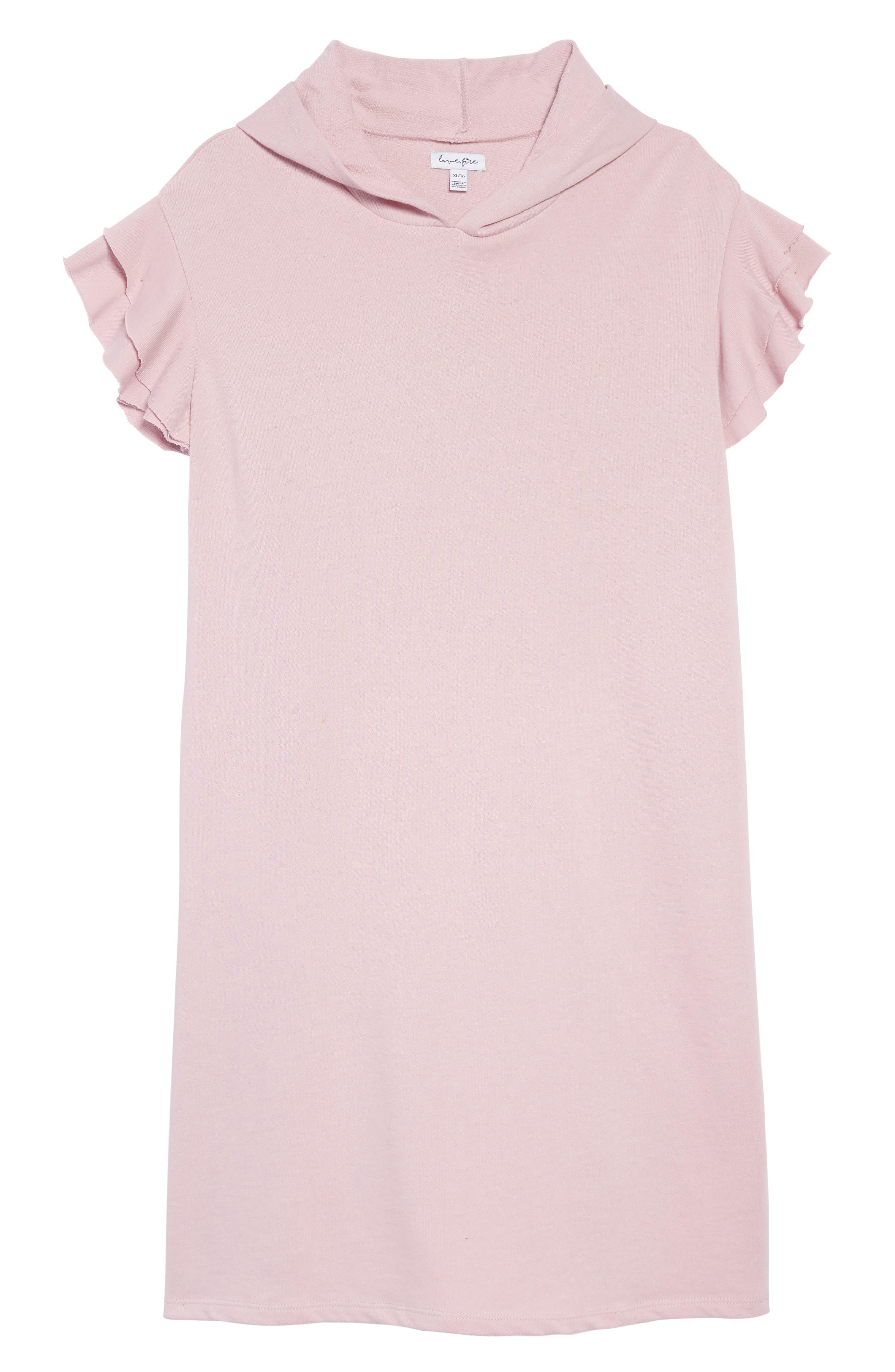 Ruffle Sleeve Hoodie Dress,                         Main,                         color, 650
