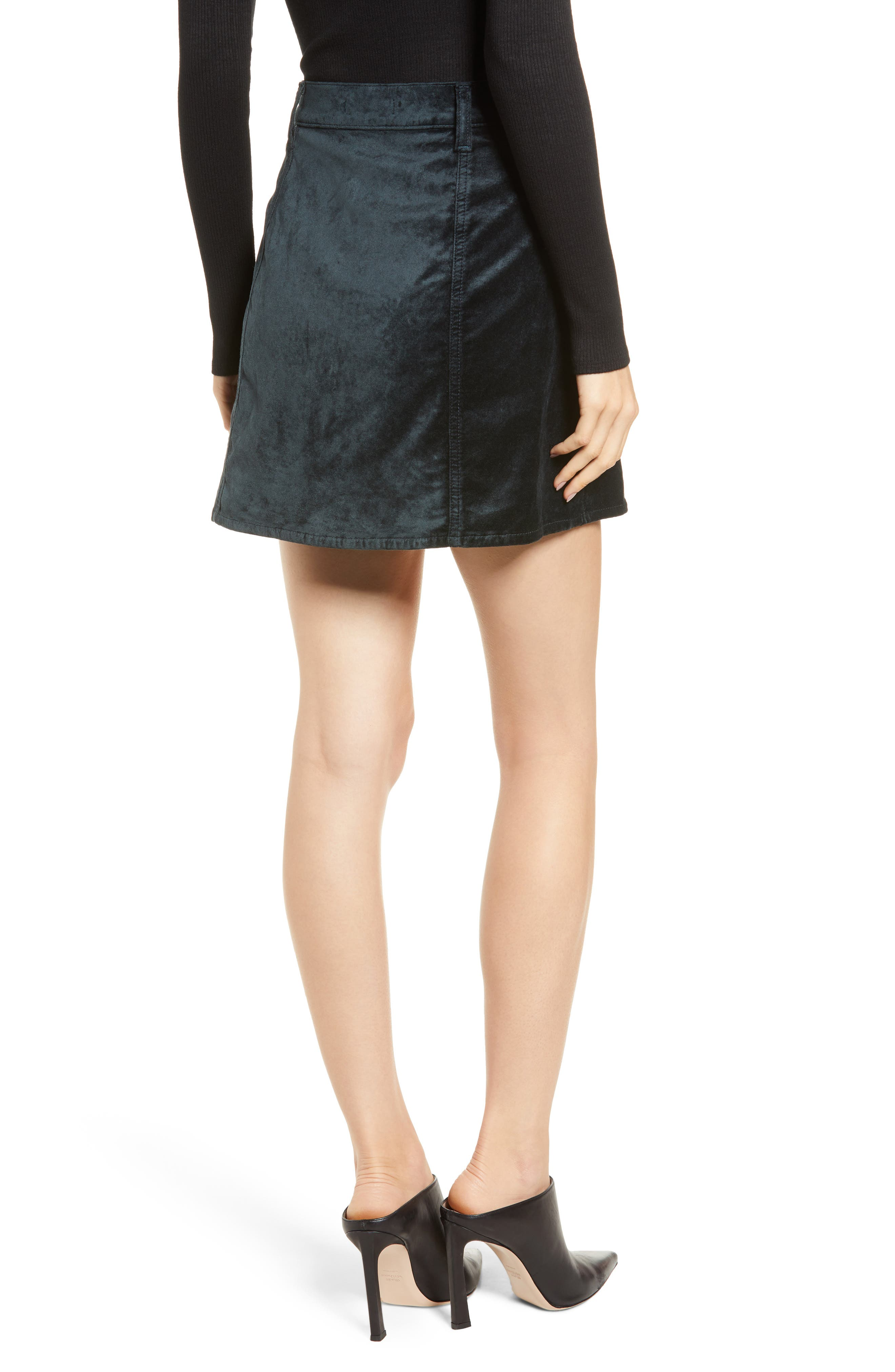Button Front Velvet Miniskirt,                             Alternate thumbnail 2, color,                             301
