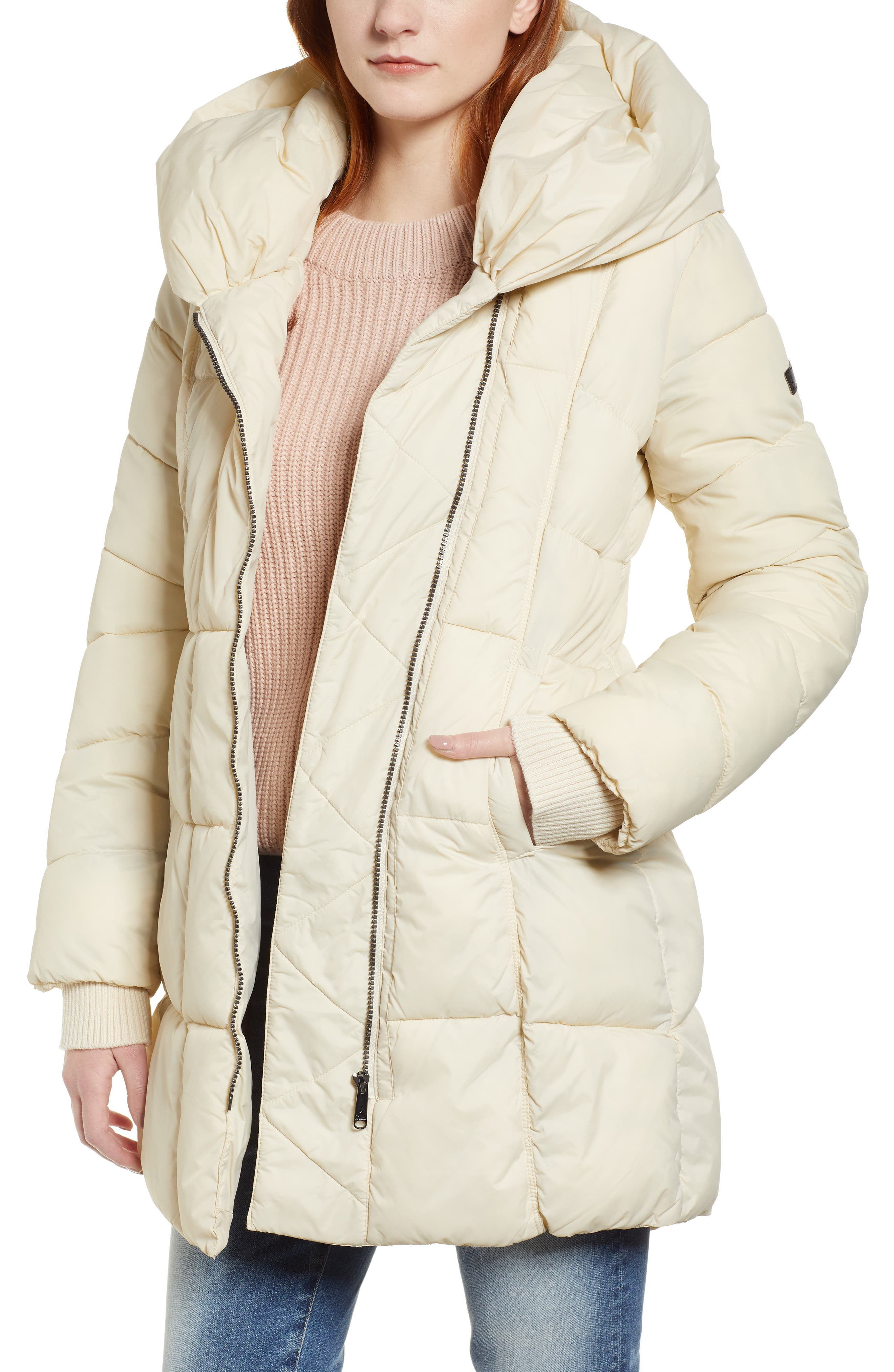 Pillow Collar Puffer Coat,                         Main,                         color, IVORY