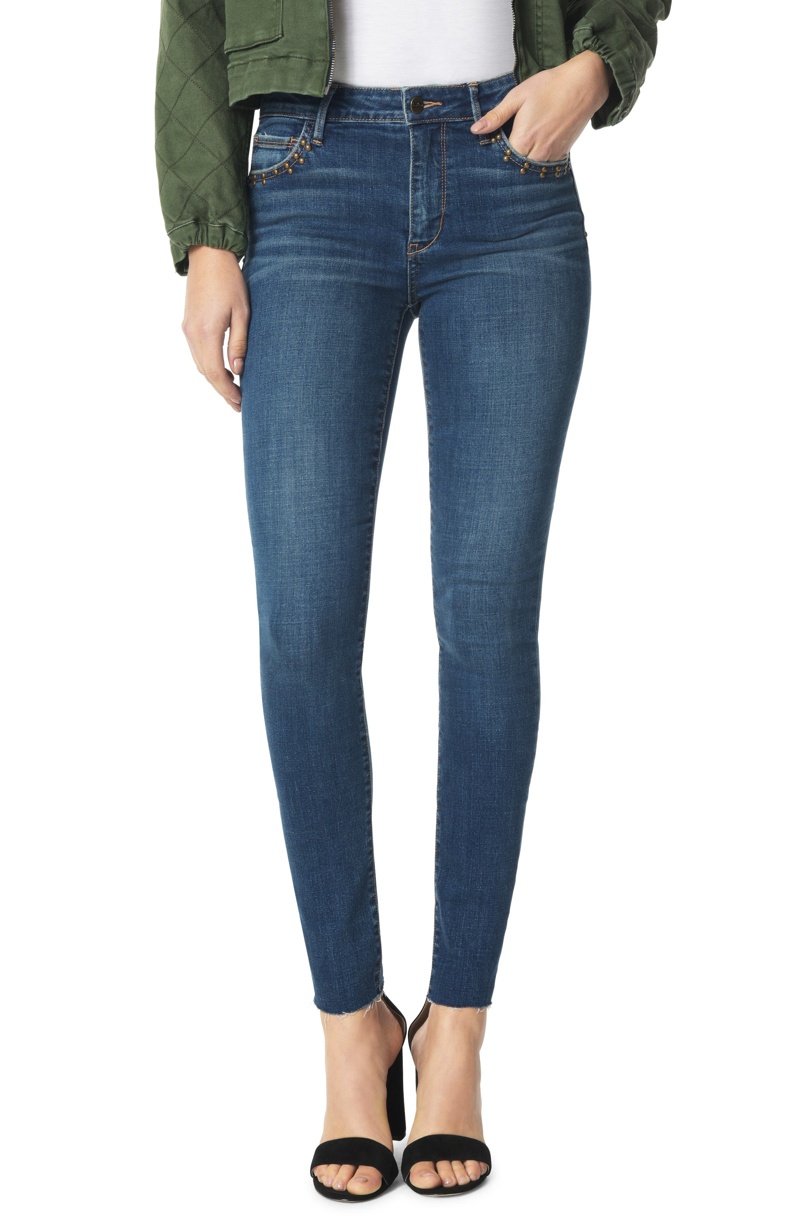 The Kitten Studded Ankle Skinny Jeans,                             Main thumbnail 1, color,                             HEIDI