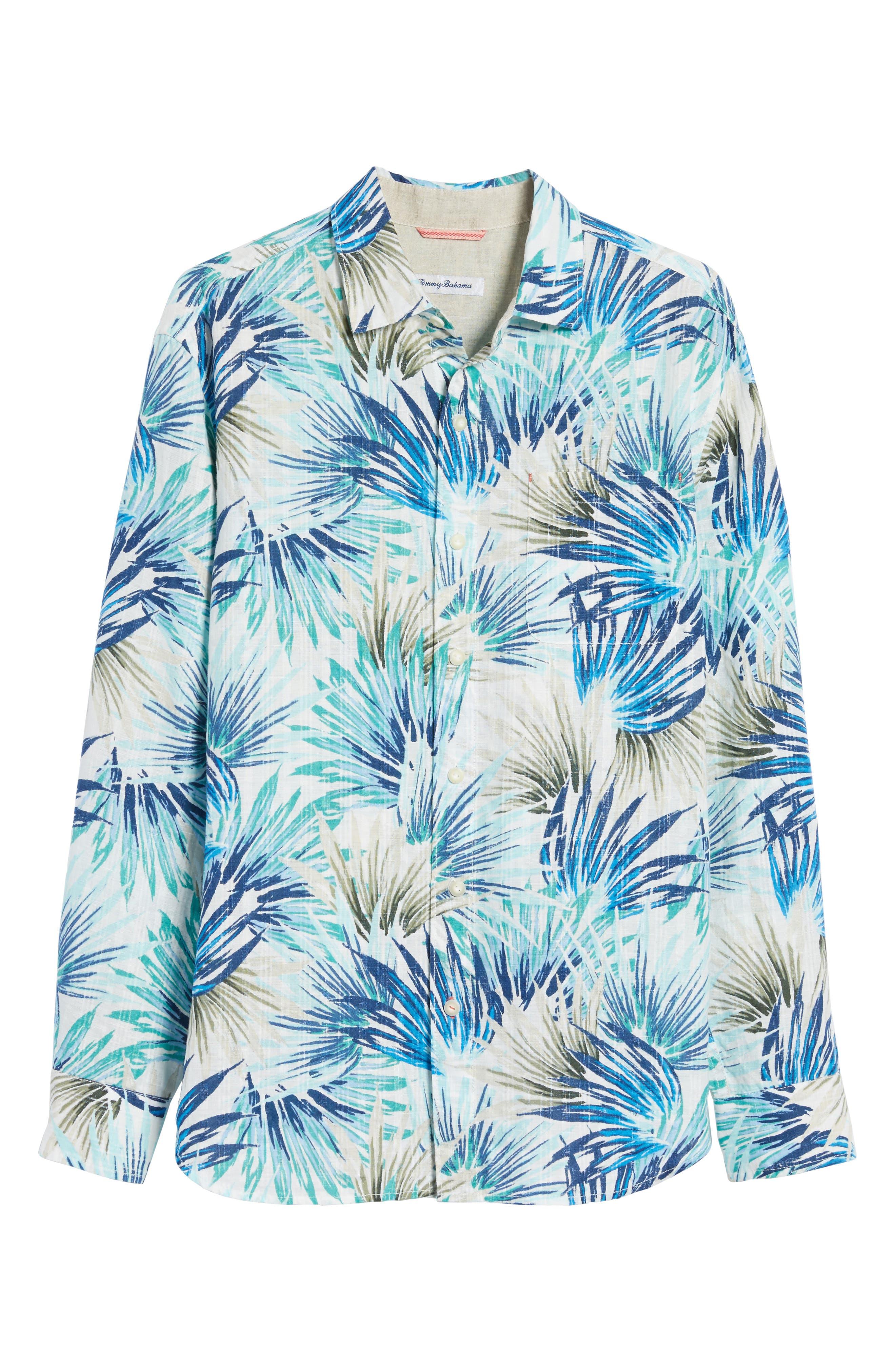 Prism Palms Linen Blend Sport Shirt,                             Alternate thumbnail 6, color,                             400