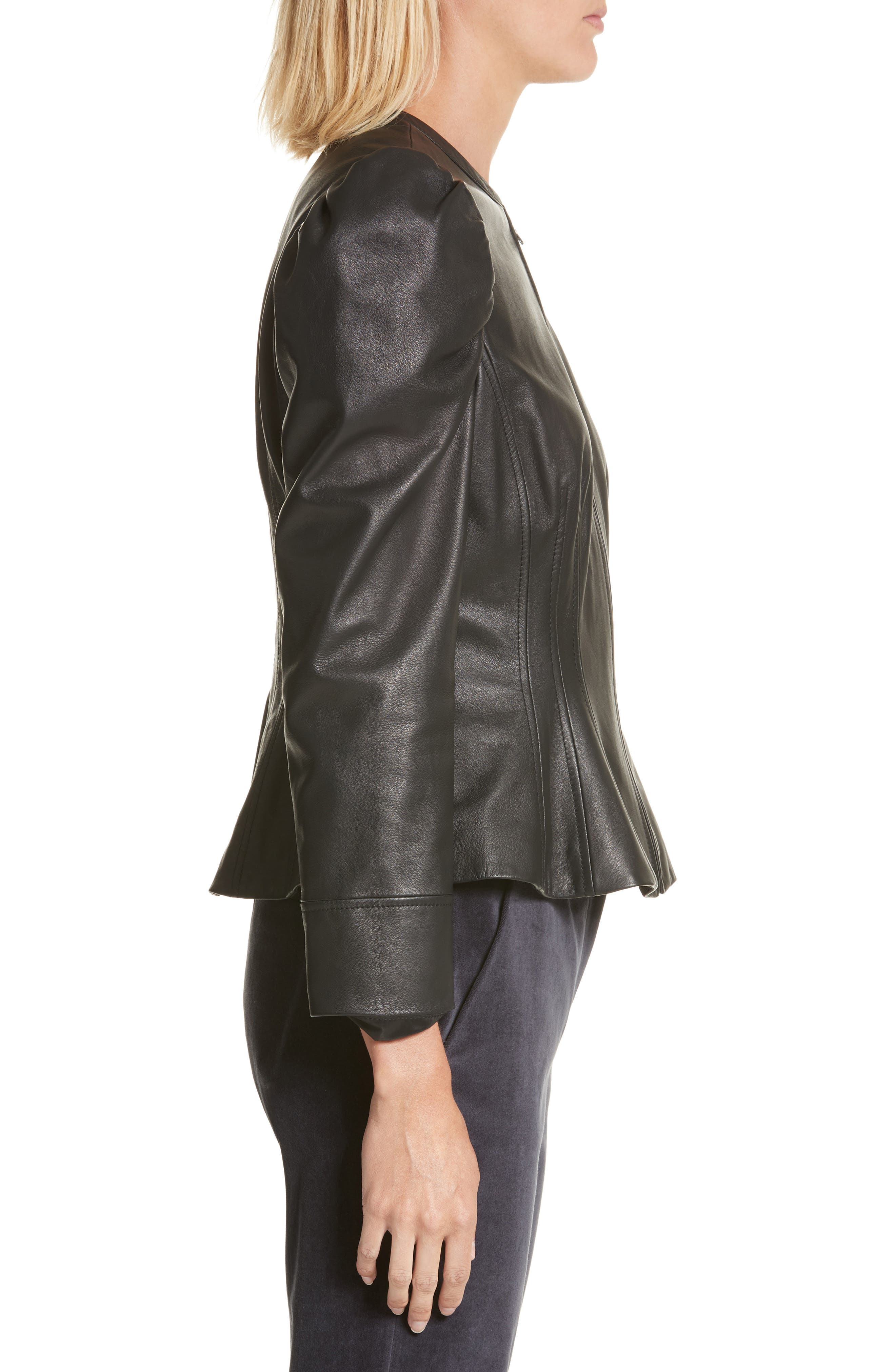 Victorian Leather Jacket,                             Alternate thumbnail 3, color,                             001