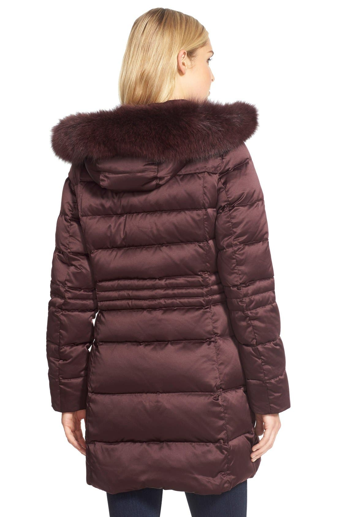 Down Coat with Genuine Fox Fur Trim,                             Alternate thumbnail 6, color,