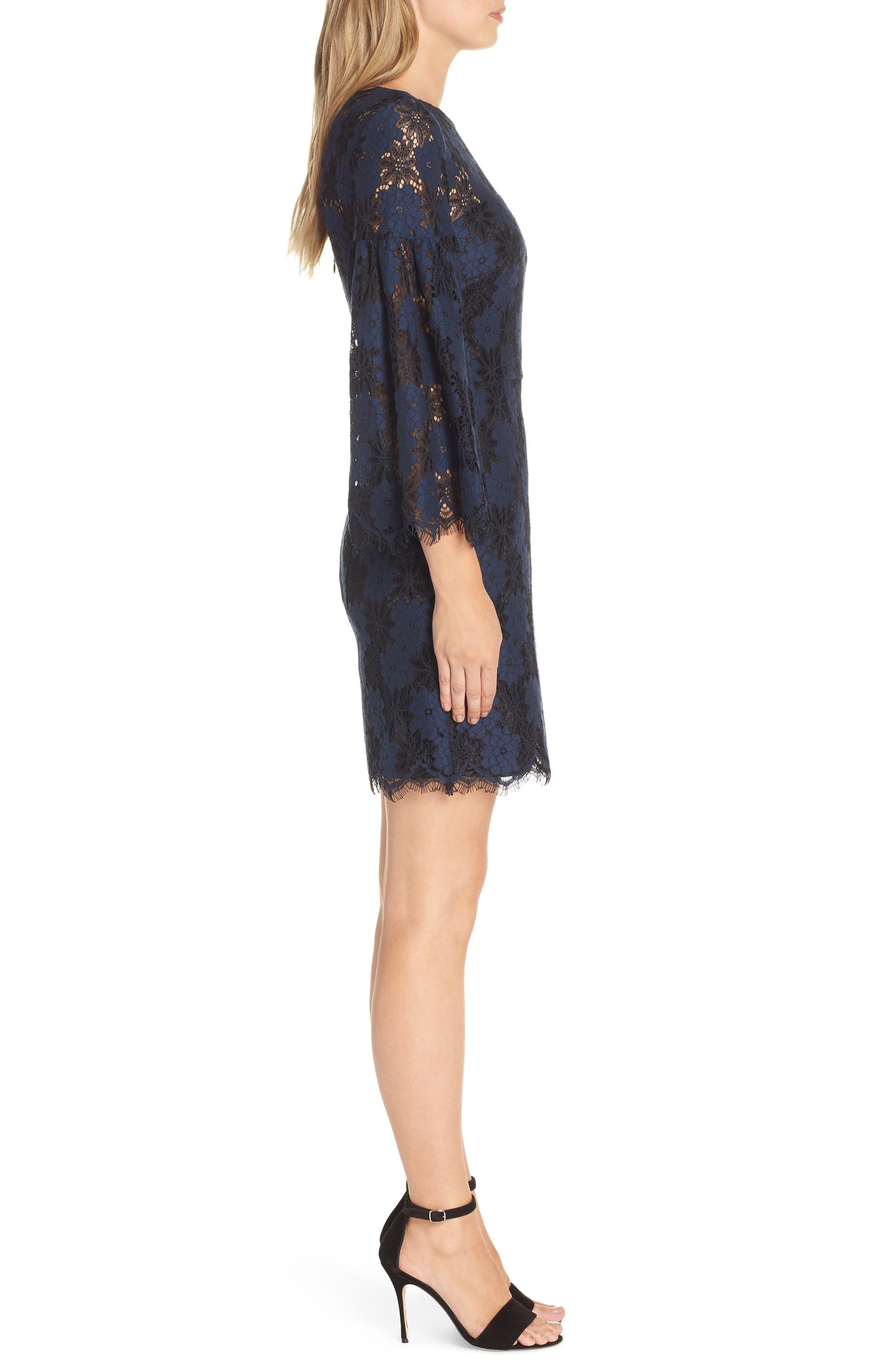 Two-Tone Lace Shift Dress,                             Alternate thumbnail 3, color,                             BLACK/ BLUE FLOWER