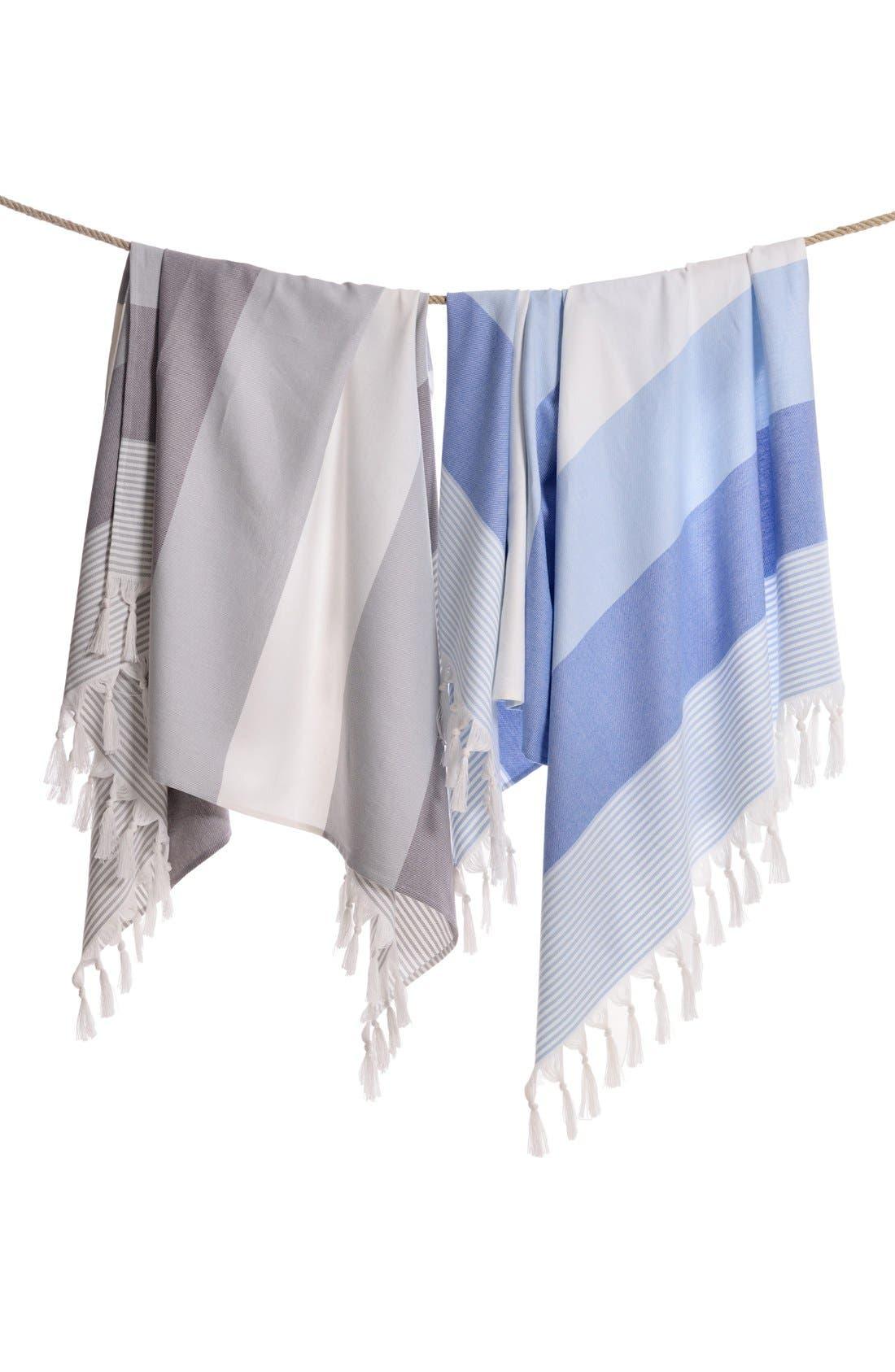 'Sea Waves' Turkish Pestemal Towel,                             Alternate thumbnail 4, color,                             400