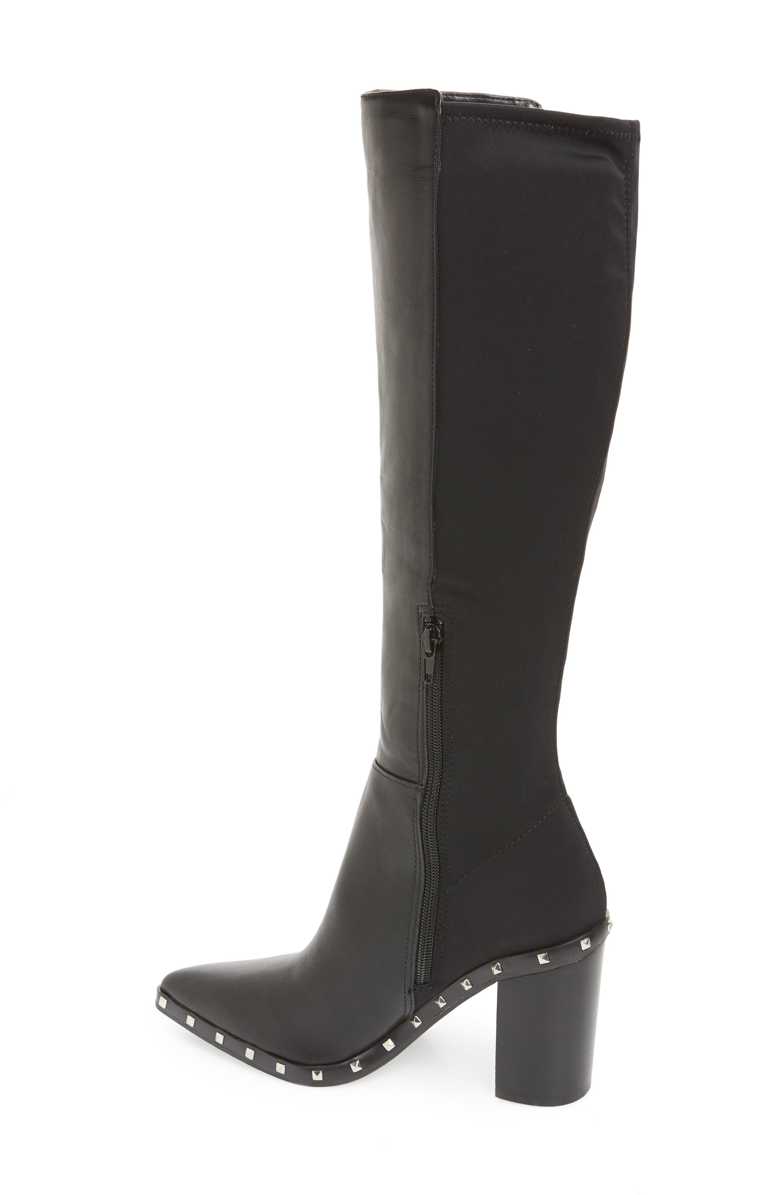 Studded Knee High Stretch Boot,                             Alternate thumbnail 2, color,                             BLACK FAUX NUBUCK LEATHER