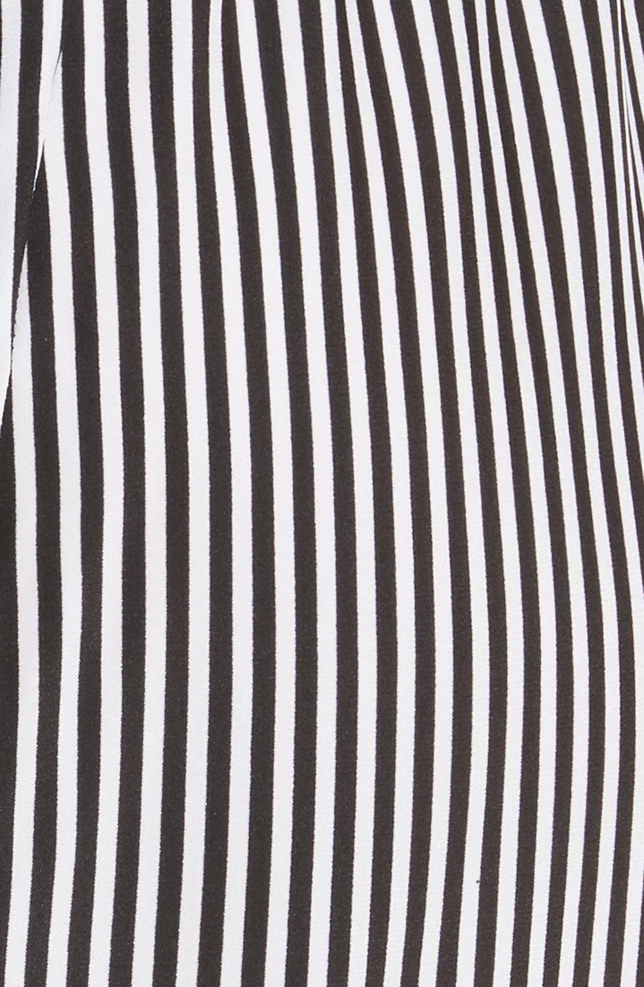 Pencil Stripe Silk Pajama Trousers,                             Alternate thumbnail 5, color,                             001