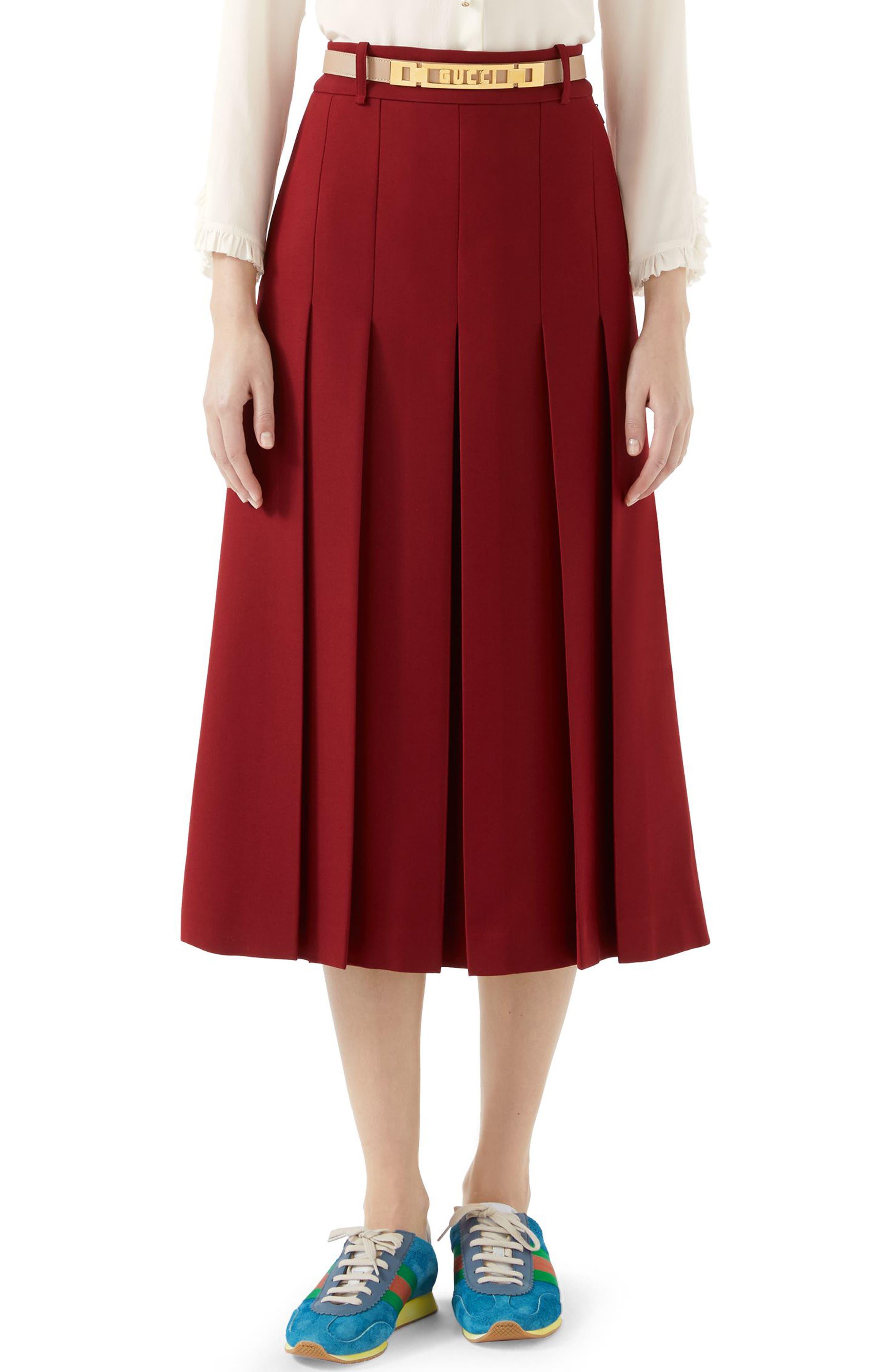 GUCCI,                             Logo Belt Pleated Midi Skirt,                             Main thumbnail 1, color,                             REAL MAGENTA