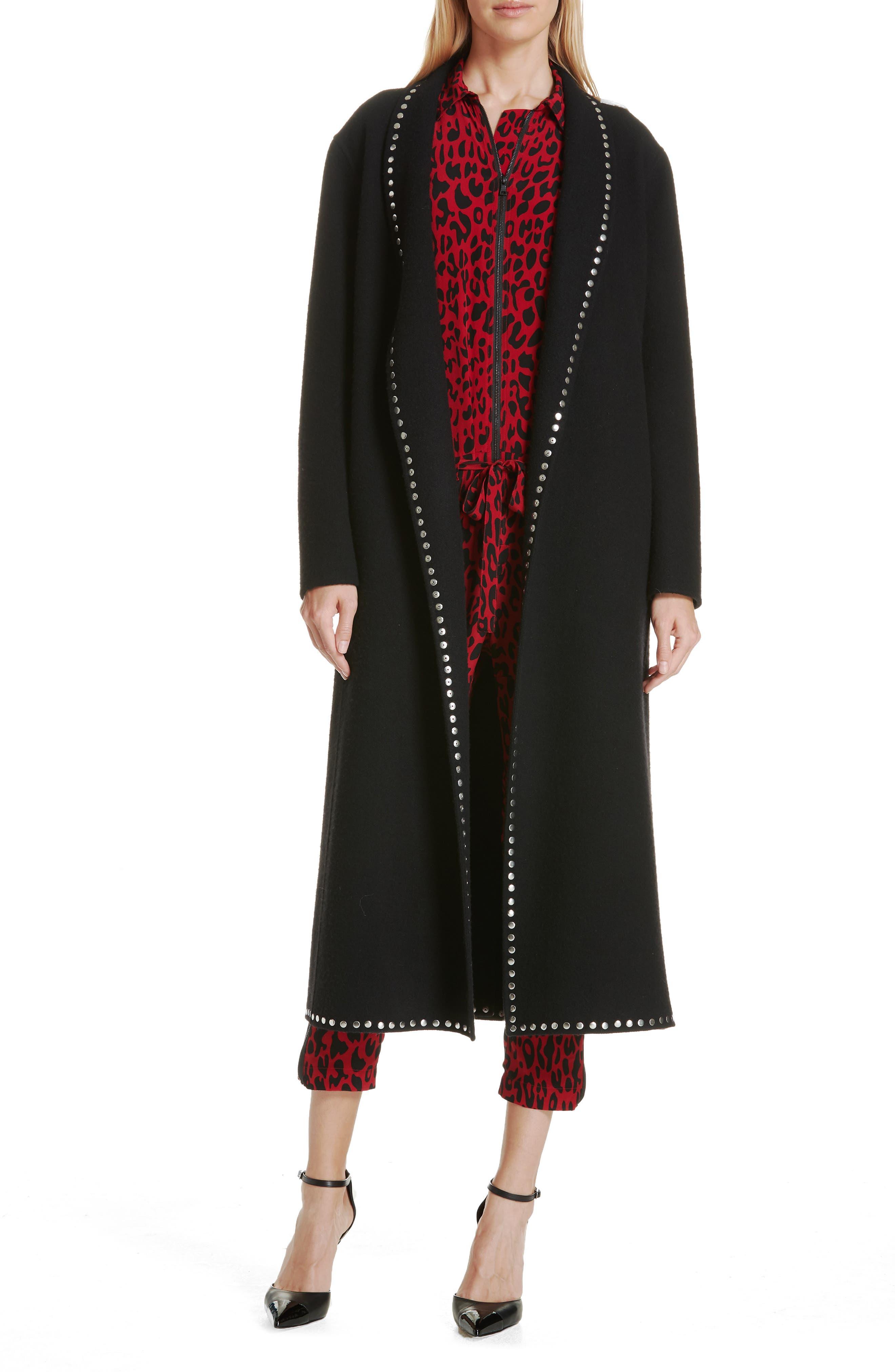 Studded Wool Blend Coat,                         Main,                         color, BLACK