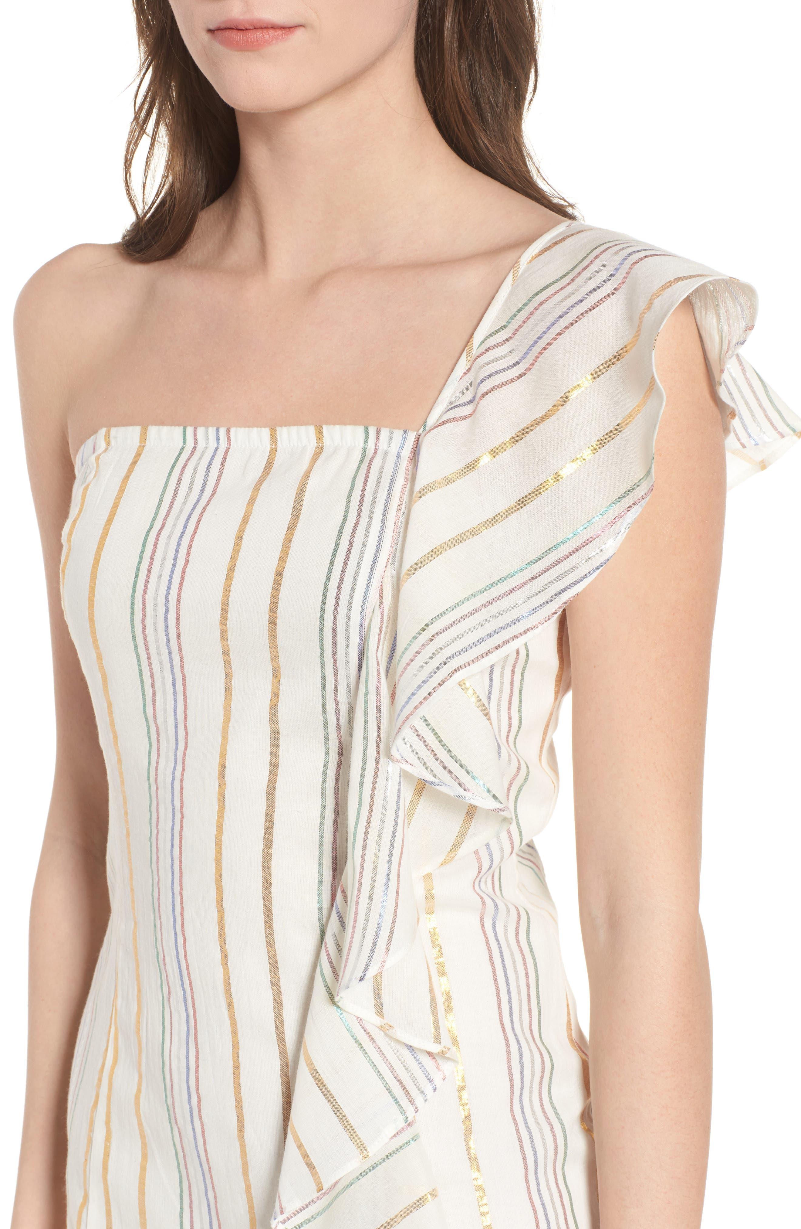 Cait One-Shoulder Sheath Dress,                             Alternate thumbnail 4, color,                             111