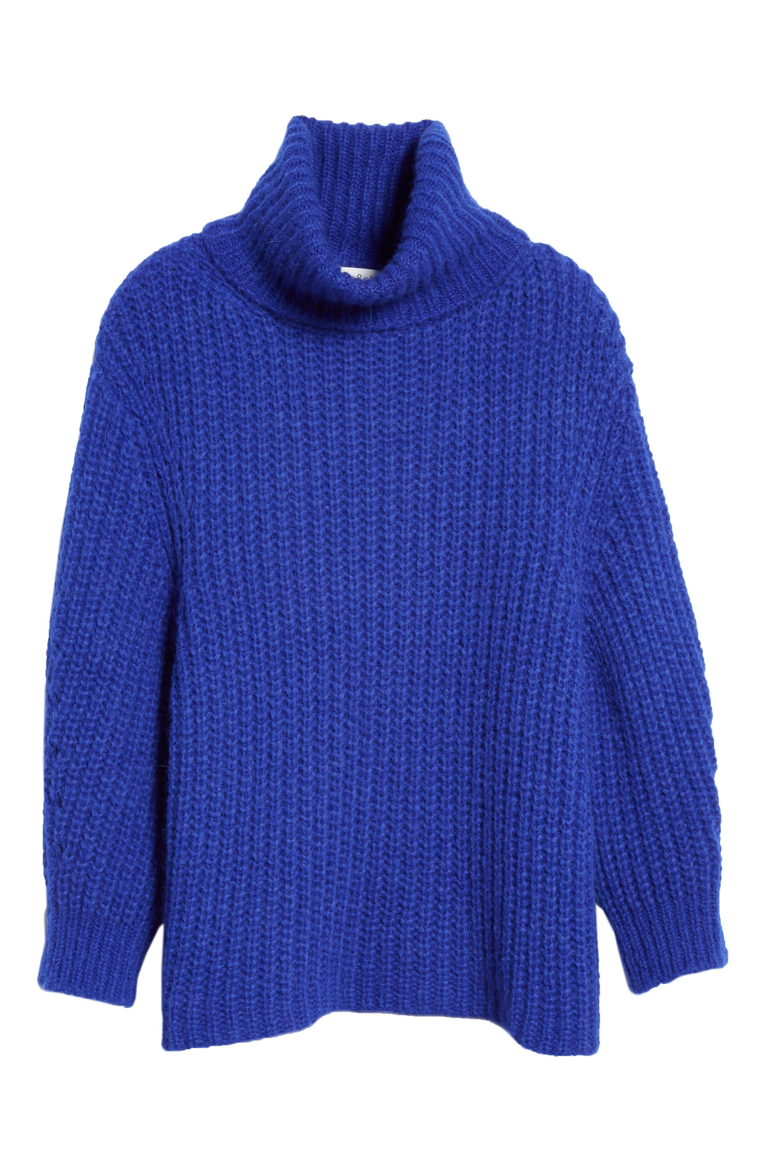 Emera Turtleneck Sweater,                             Alternate thumbnail 6, color,                             BLUE