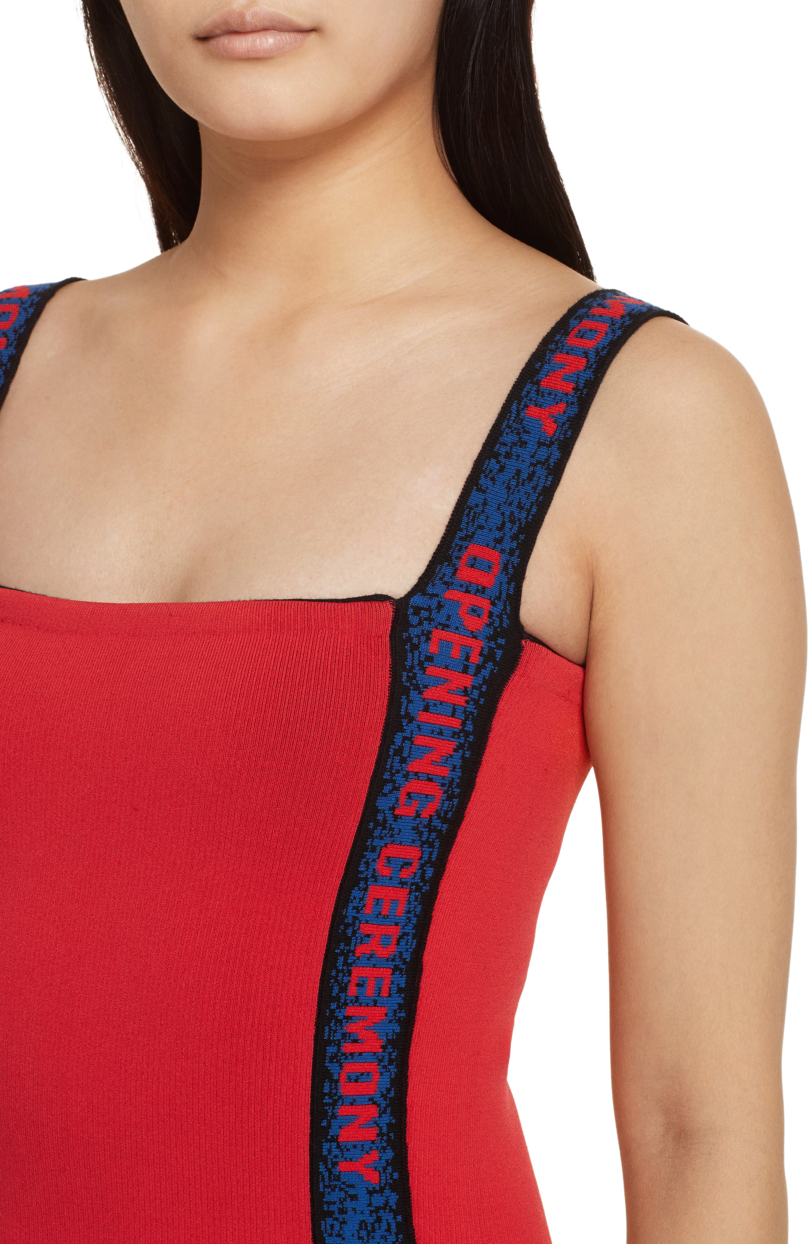 Logo Tape Ribbed Body-Con Dress,                             Alternate thumbnail 8, color,